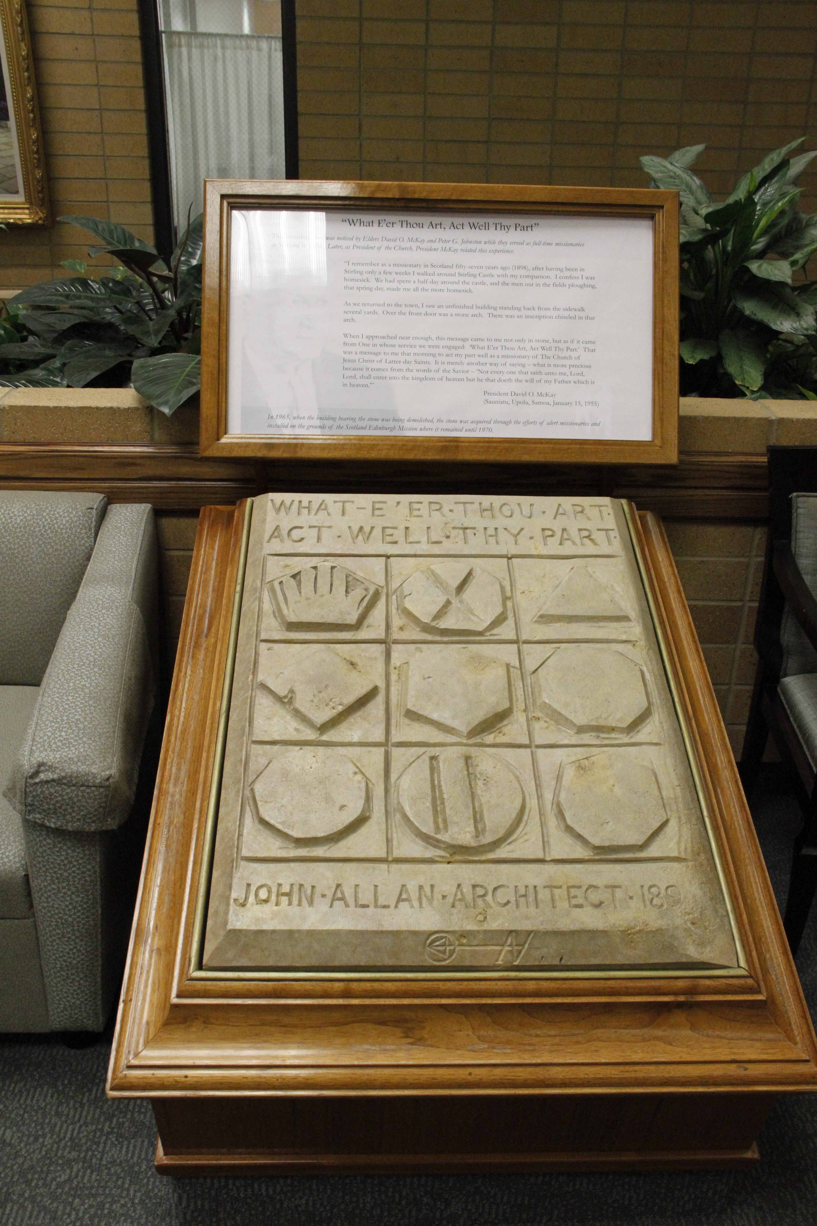 Wednesday, Feb.1, 2012.50th anniversary of language training for missionaries. Devotional at Provo Missionary Training Center featuring Elder M. Russell Ballard as speaker. In MTC lobby is replica of stone seen by Elder David O. McKay while a missionry in Scotland. It was a pivotal moment for his mission. Elder Nelson told the story in his talk.