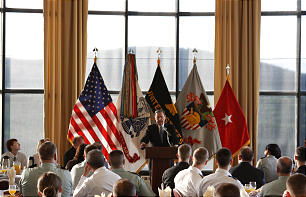 Elder Jeffrey R. Holland speaks at the May 7 National Day of Prayer Breakfast at the U.S. Military Academy at West Point, N.Y. The apostle highlighted the importance of integrity in one's life.