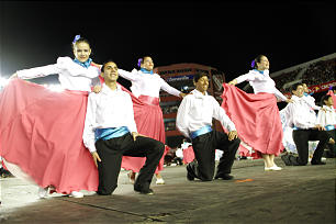 Young men and young women perform Argentine folk dance at the Sept. 8, 2012, cultural event in Buenos Aires.