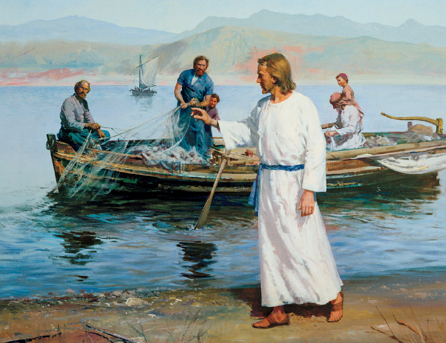 One day, Jesus taught from Peter's boat on the Sea of Galilee. Afterward He told Peter to take the boat to deep water and let out the nets to catch fish. Peter explained that he and others had been fishing all night without catching anything, but he said he would do as Jesus commanded. Peter and his brother Andrew caught so many fish that their net began to break. James and John came in another boat to help. The fishermen were all amazed. Jesus called Peter and Andrew to follow Him and become fishers of men. He also called James and John. They all left their boats and nets and followed Jesus. Artist, Harry Anderson.Pictures of life of Christ for special issue. Monday, Dec.28, 2009, Photo copyright IRI