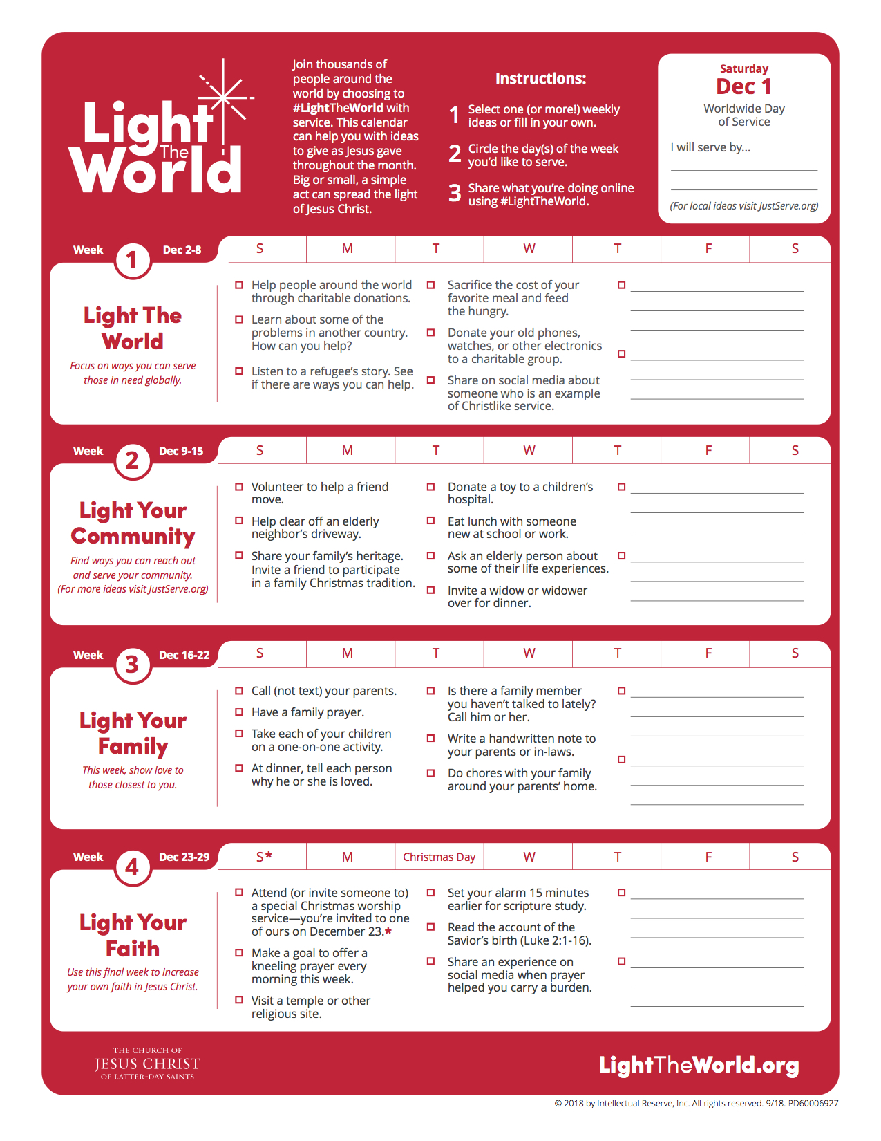 A calendar provides ideas for this year's Light the World campaign.