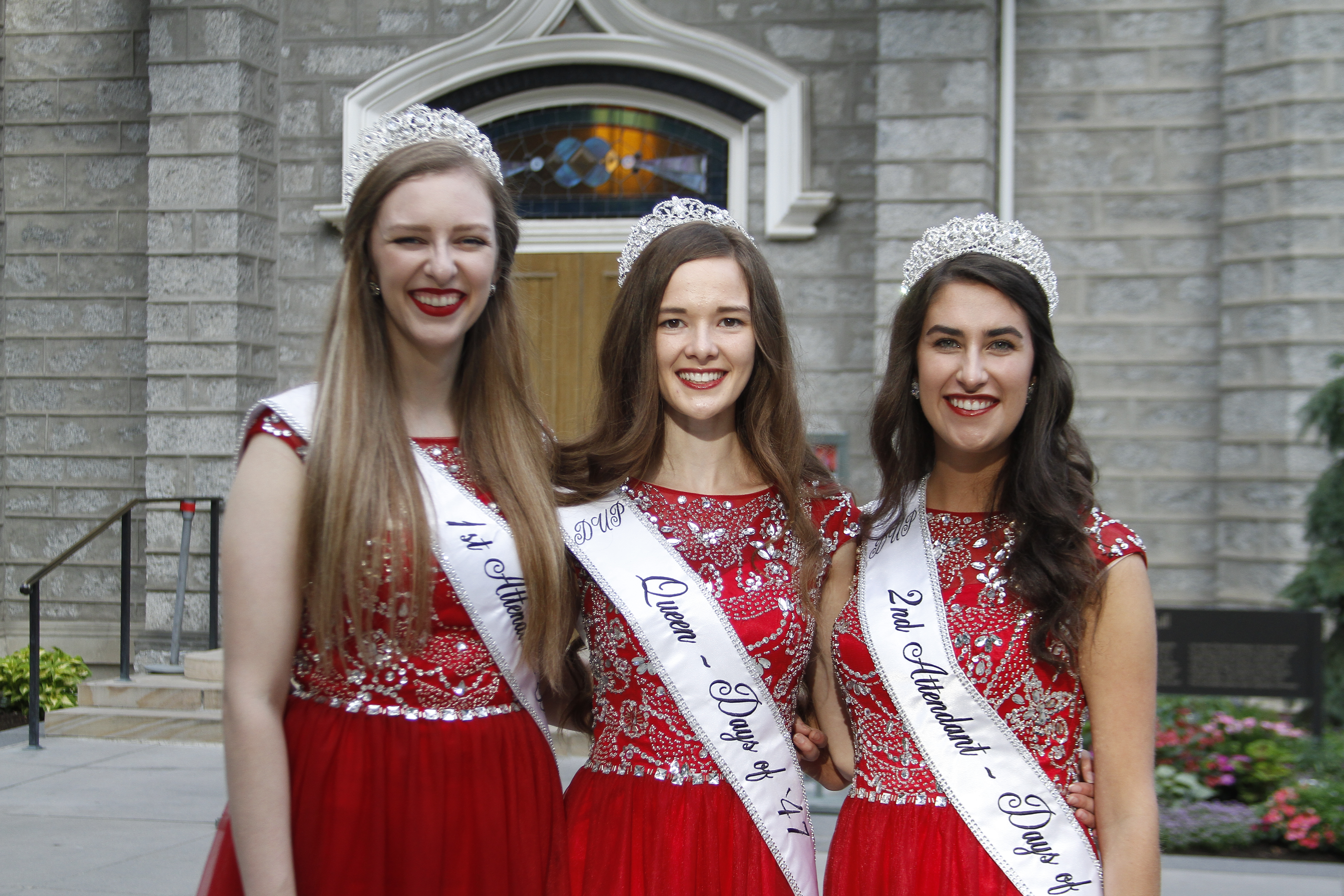 Anastasia Haner, the Days of '47 Queen, center, poses for a photo with Carli Sorenson, first attendant, left, and Emilie Clark, second attendant, right, in front of the Assembly Hall on Temple Square after the Days of '47 Sunrise Service on July 24, 2019.