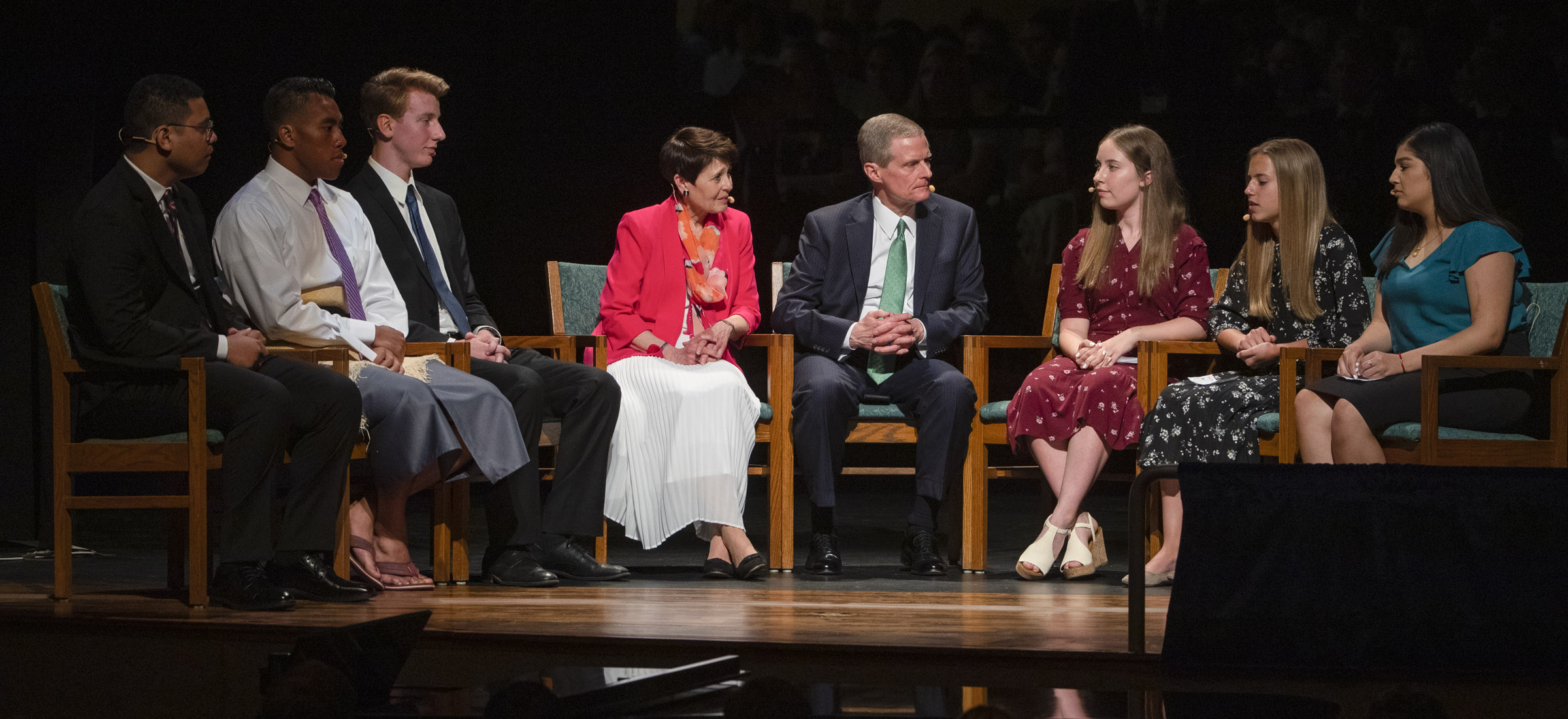 Elder David A. Bednar of the Quorum of the Twelve Apostles of The Church of Jesus Christ of Latter-day Saints, and his wife, Sister Susan Bednar, speak with youth in a panel discussion during a youth devotional at the Interstake Center on the Oakland California Temple grounds on Saturday June 15, 2019.