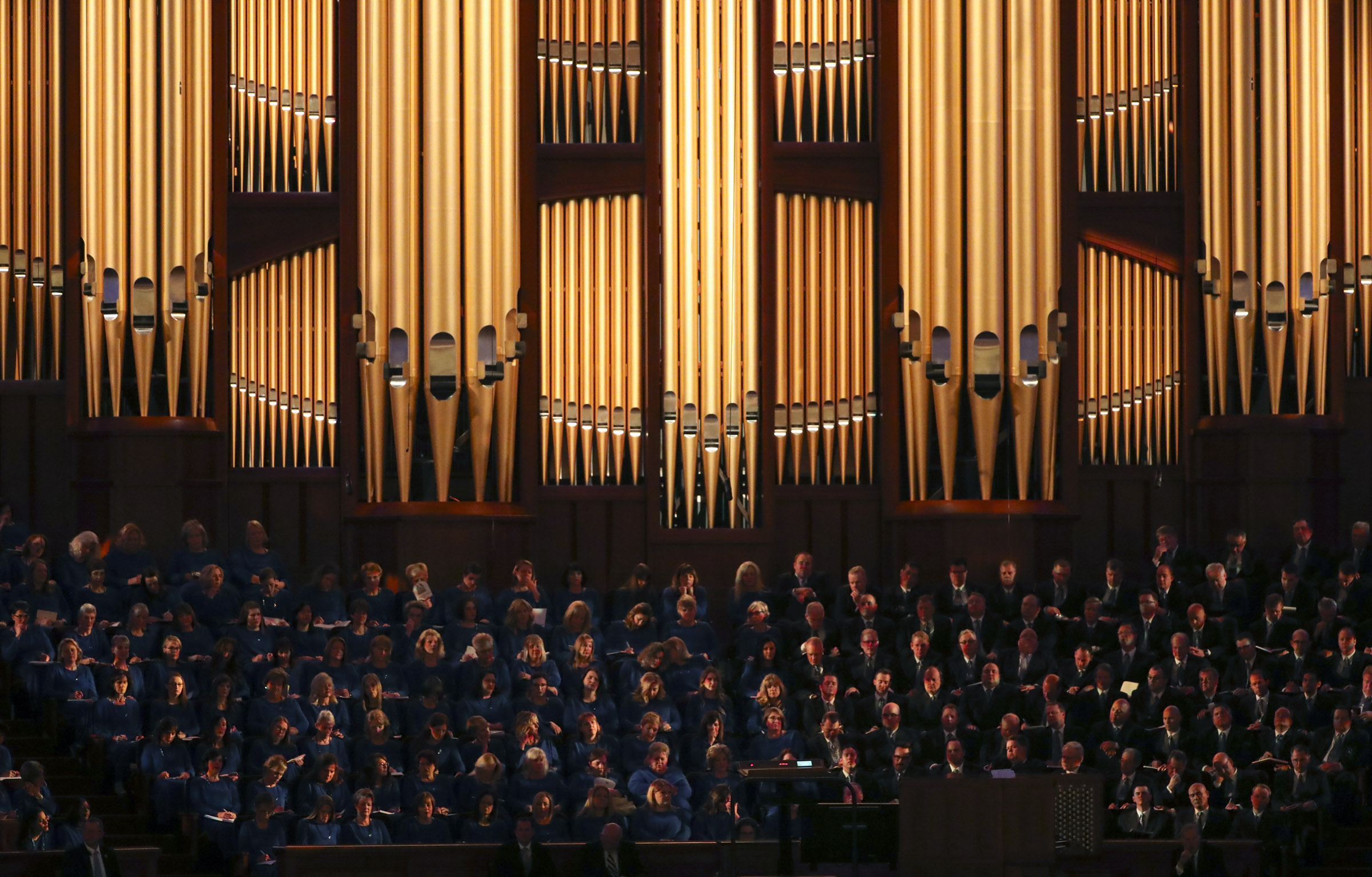 The Tabernacle Choir at Temple Square prepares to sing in the Conference Center in Salt Lake City during the morning session of the 189th Annual General Conference of The Church of Jesus Christ of Latter-day Saints on Saturday, April 6, 2019.