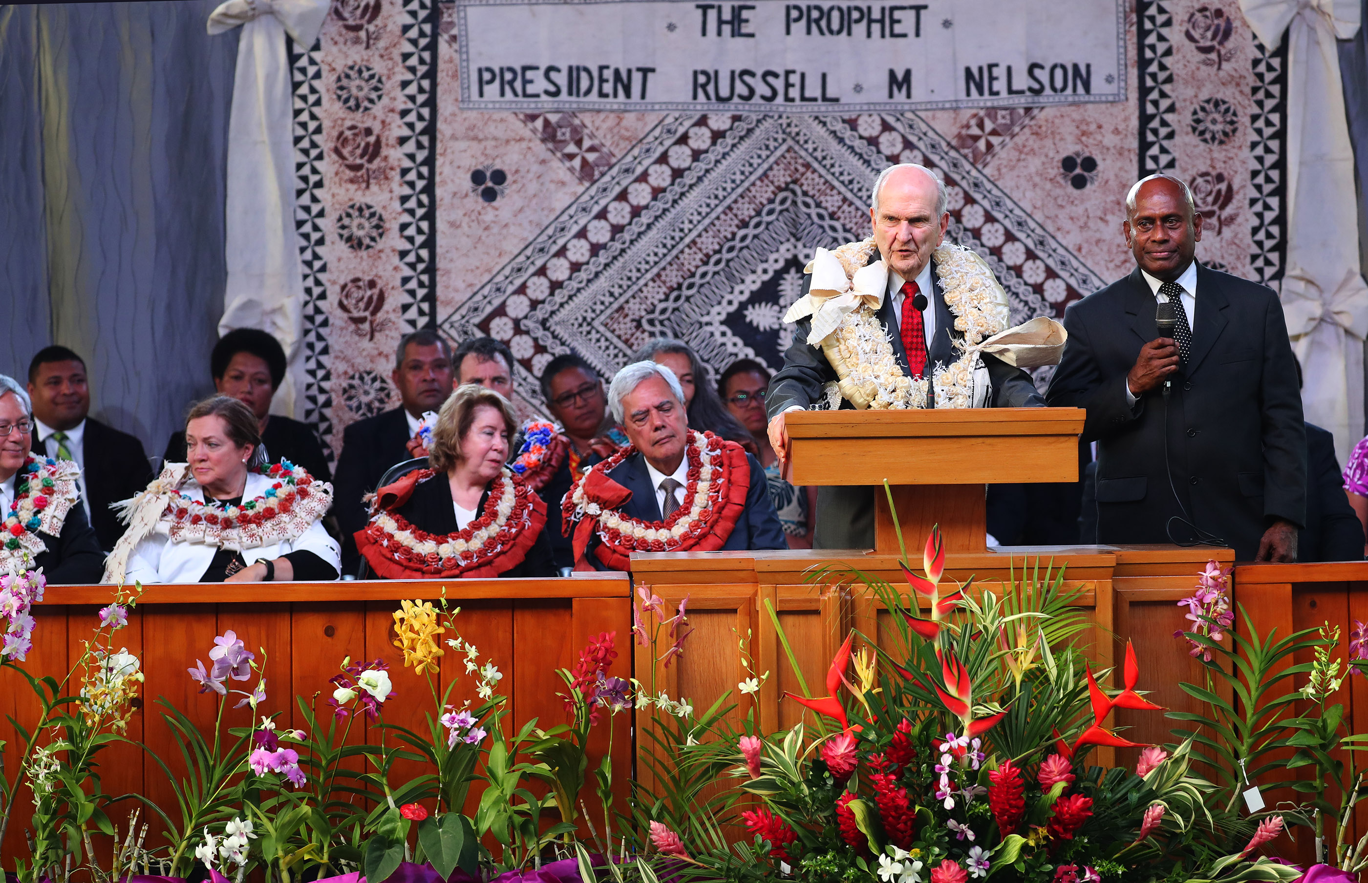 President Russell M. Nelson of The Church of Jesus Christ of Latter-day Saints speaks during a devotional in Nausori, Fiji on May 22, 2019.