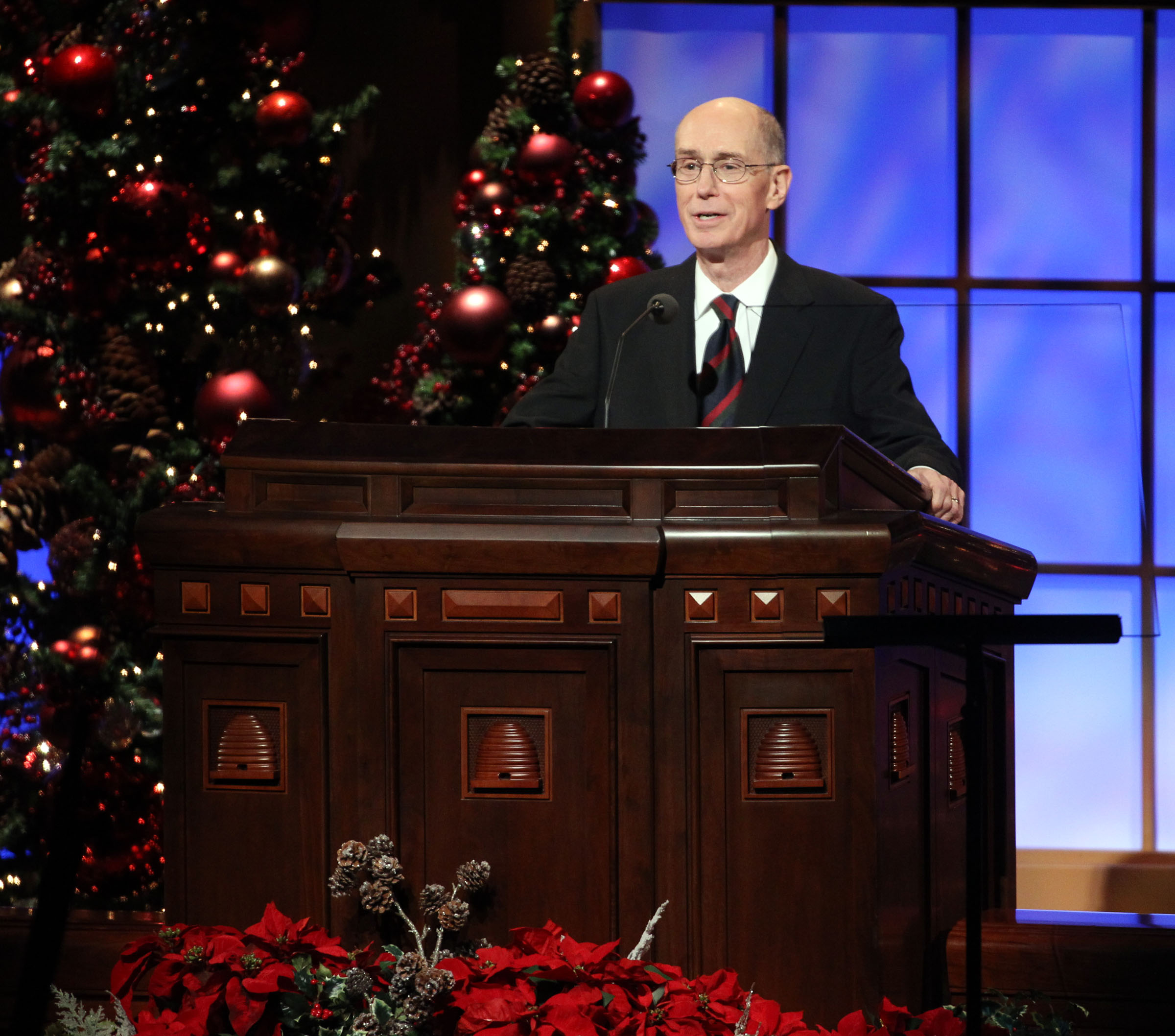President Henry B. Eyring speaks to thousands during the First Presidency Christmas Devotional in the Conference Center in Salt Lake City on Sunday, Dec. 5, 2010.