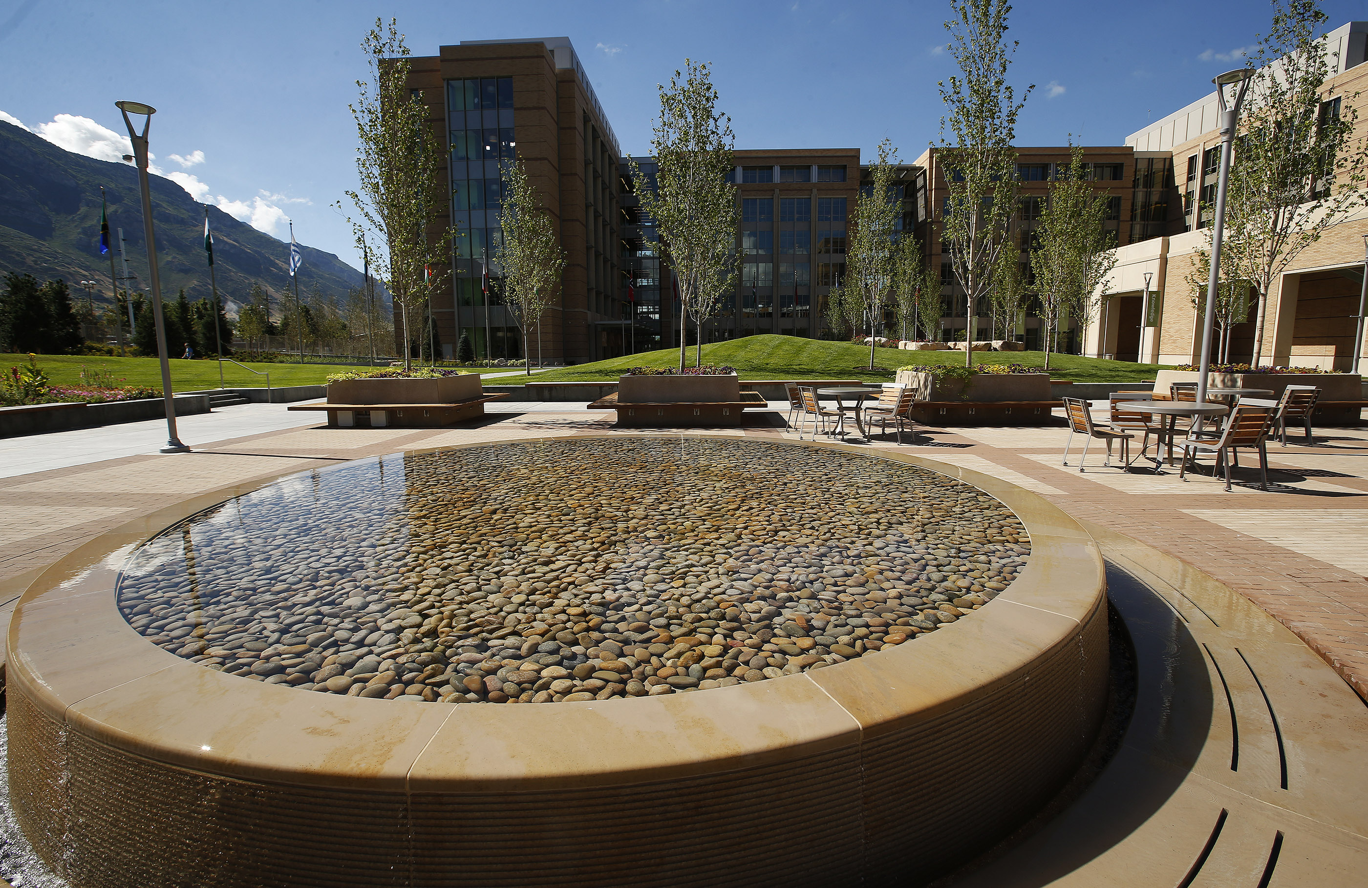 A water feature highlights open space between the new T3 and T4 training buildings on the Provo Missionary Training Center campus in Provo on Wednesday, July 26, 2017.