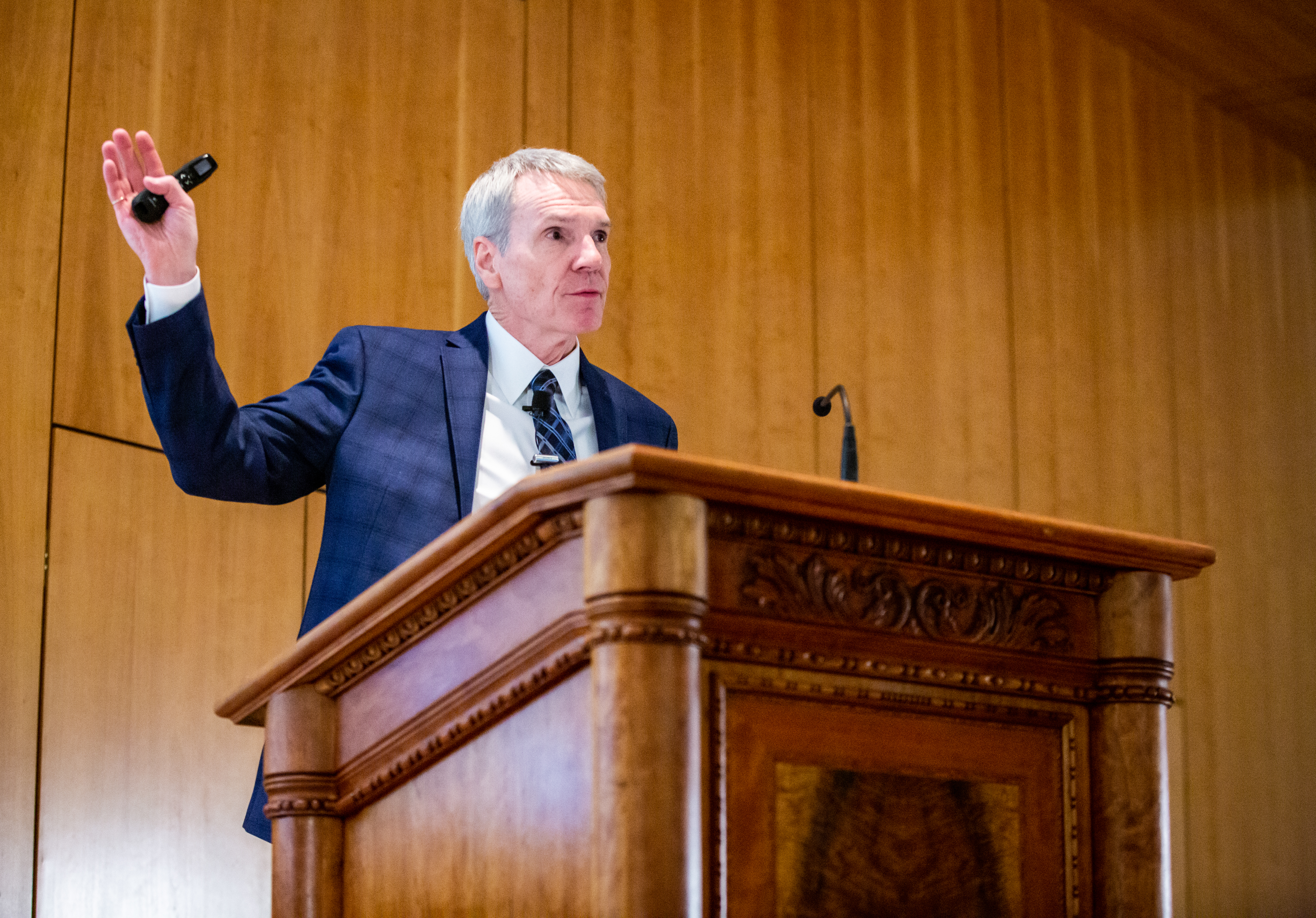 Guest speaker Dr. Scott Stanley of the University of Denver addresses students, alumni and faculty during the 15th Annual Marjorie Pay Hinckley Lecture on Feb. 7, 2019 on the BYU Provo, Utah campus.