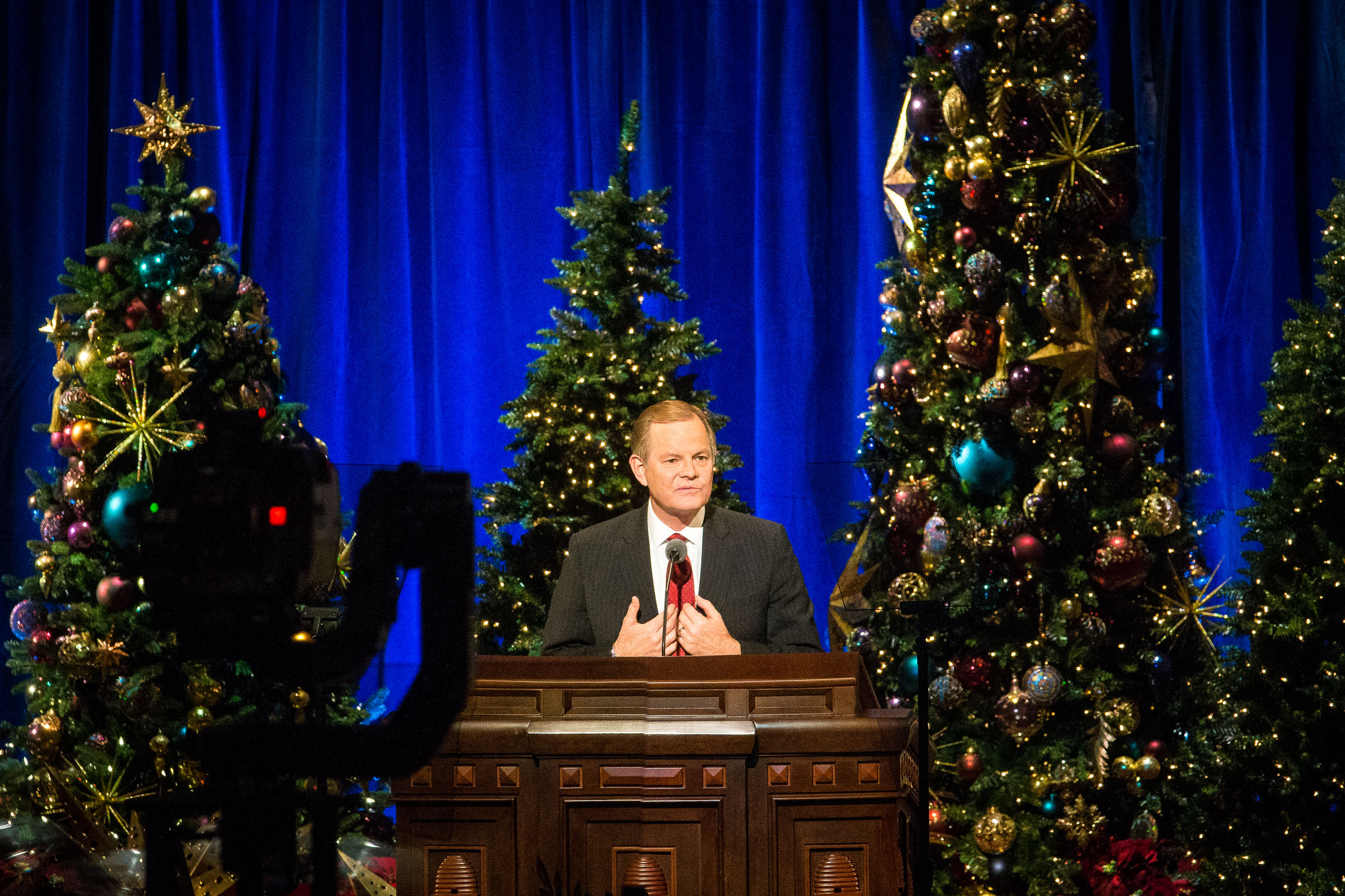 Elder Gary E. Stevenson of the Quorum of the Twelve Apostles speaks during the First Presidency's Christmas Devotional in the Conference Center in Salt Lake City on Sunday, Dec. 2, 2018.