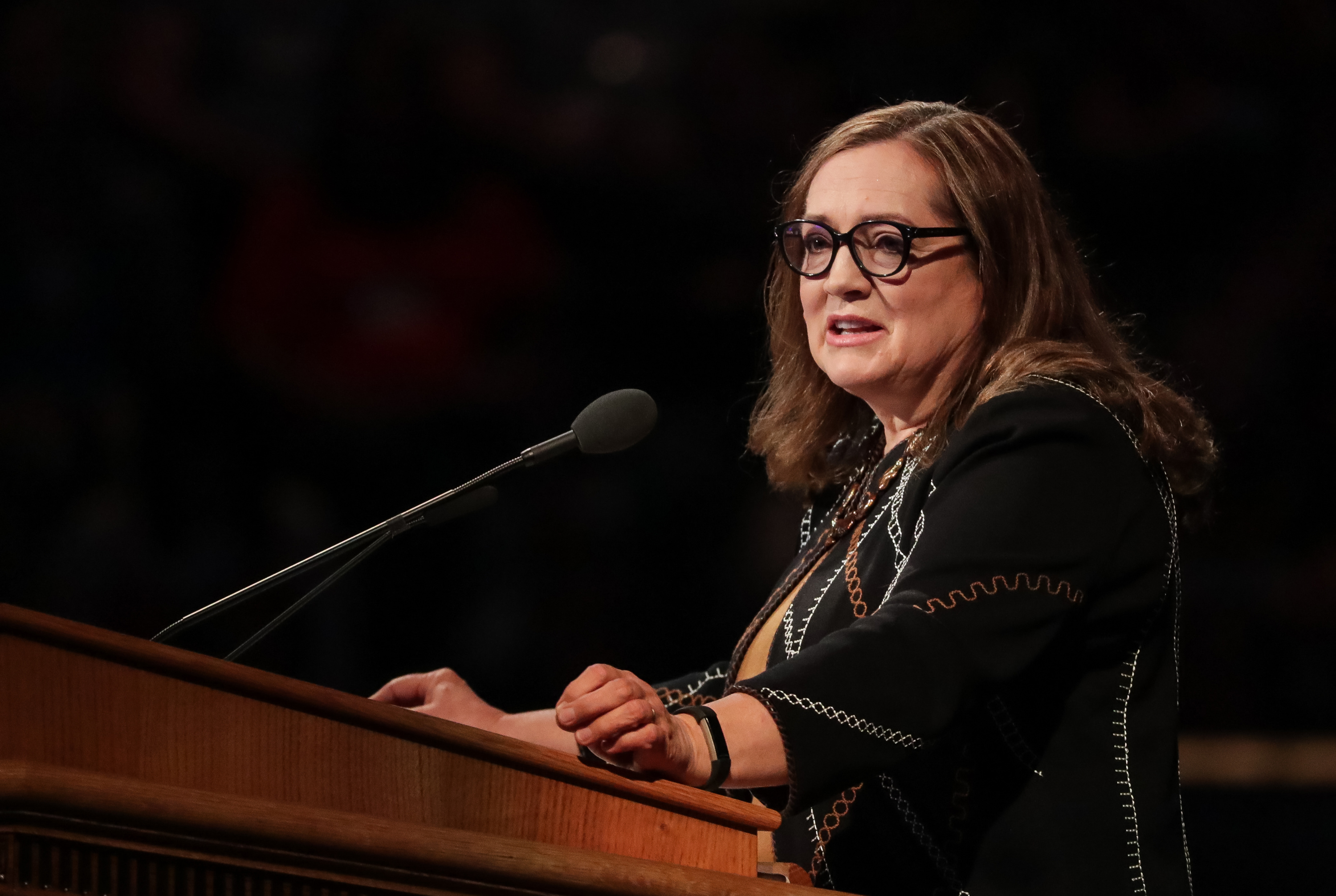 Sister Susan Gong, wife of Elder Gerrit W. Gong, of the Quorum of the Twelve Apostles of the LDS Church, speaks at the BYU Women's Conference at the Marriott Center in Provo on Friday, May 4, 2018.