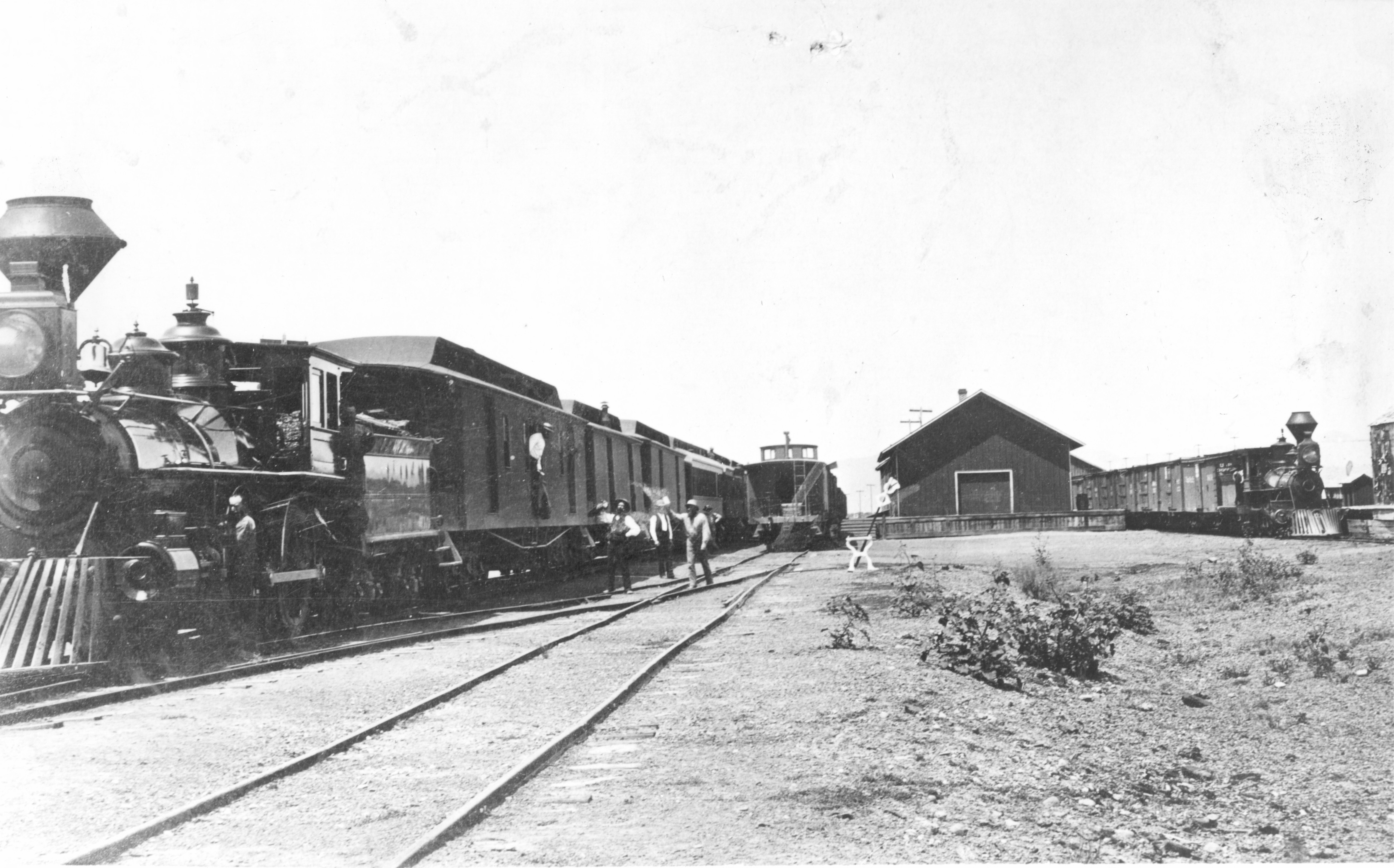 """Central Pacific Railroad's """"Jupiter""""/The Stanford Special waits near Promontory, Utah."""