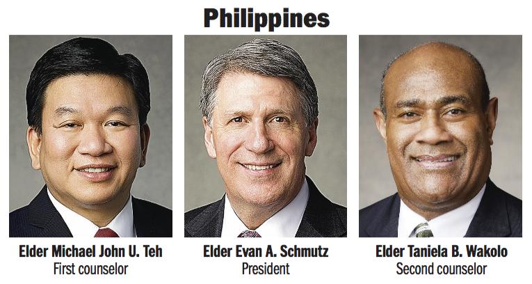Philippines Area presidency: Elder Evan A. Schmutz, Elder Michael John U. Teh and Elder Taniela B. Wakolo.