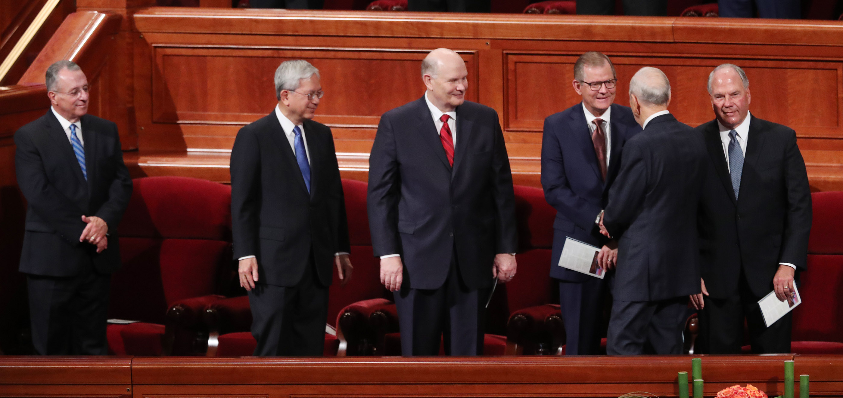 President Russell M. Nelson of The Church of Jesus Christ of Latter-day Saints greets some members of the Quorum of the Twelve Apostles during the 188th Semiannual General Conference of The Church of Jesus Christ of Latter-day Saints in Salt Lake City on Sunday, Oct. 7, 2018.