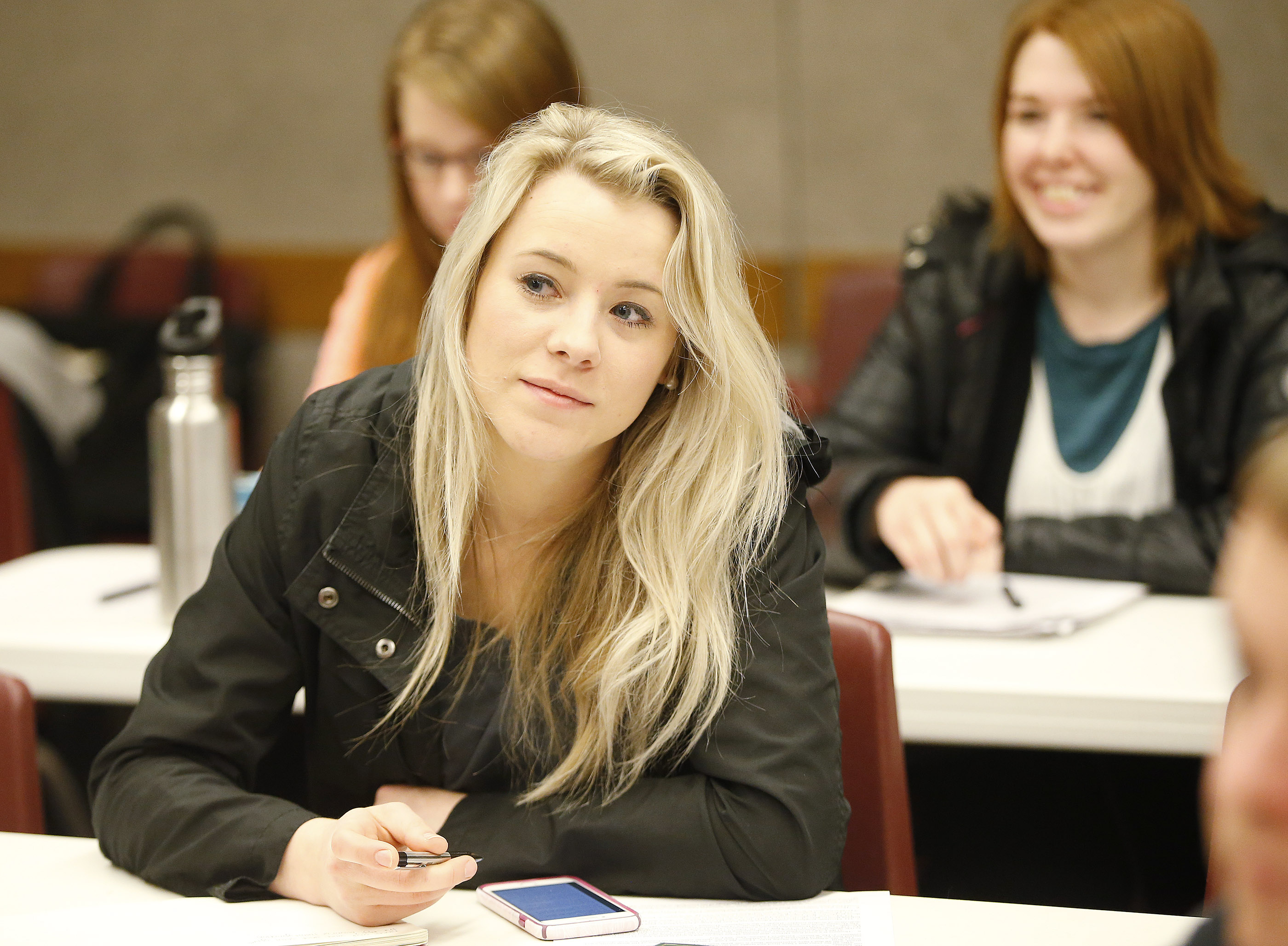 Sydnee Gay and other 18-30-year-old students meet regarding BYU-Pathway Worldwide in Orem on Feb 16, 2017.