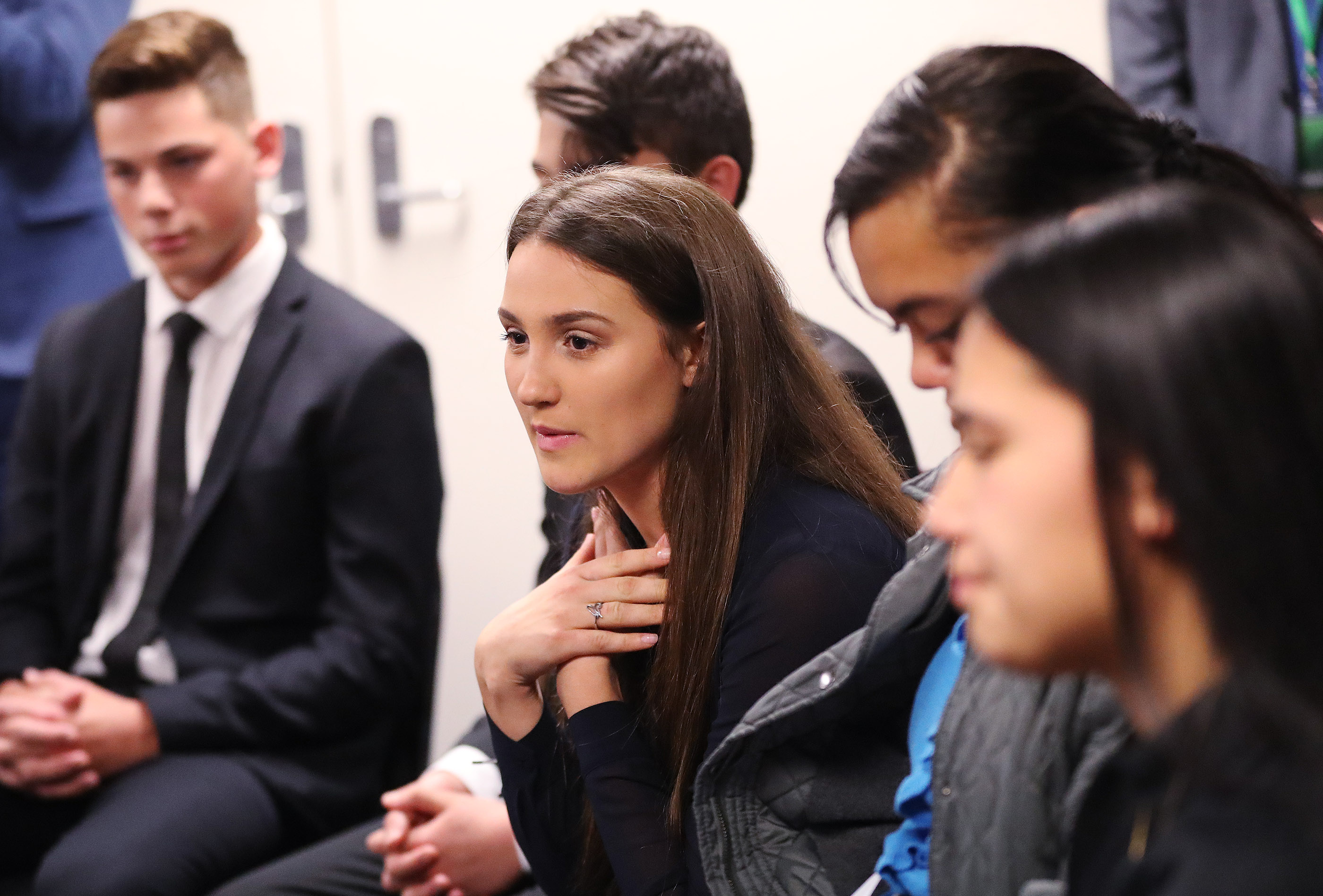 Emma Ormsby asks President Russell M. Nelson of The Church of Jesus Christ of Latter-day Saints a question during a youth meeting in Auckland, New Zealand, on May 21, 2019.