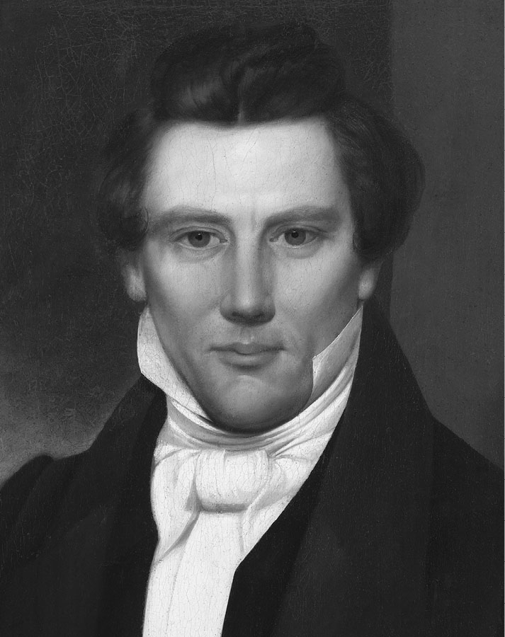 A painting of Joseph Smith, 1842, by David Rogers.