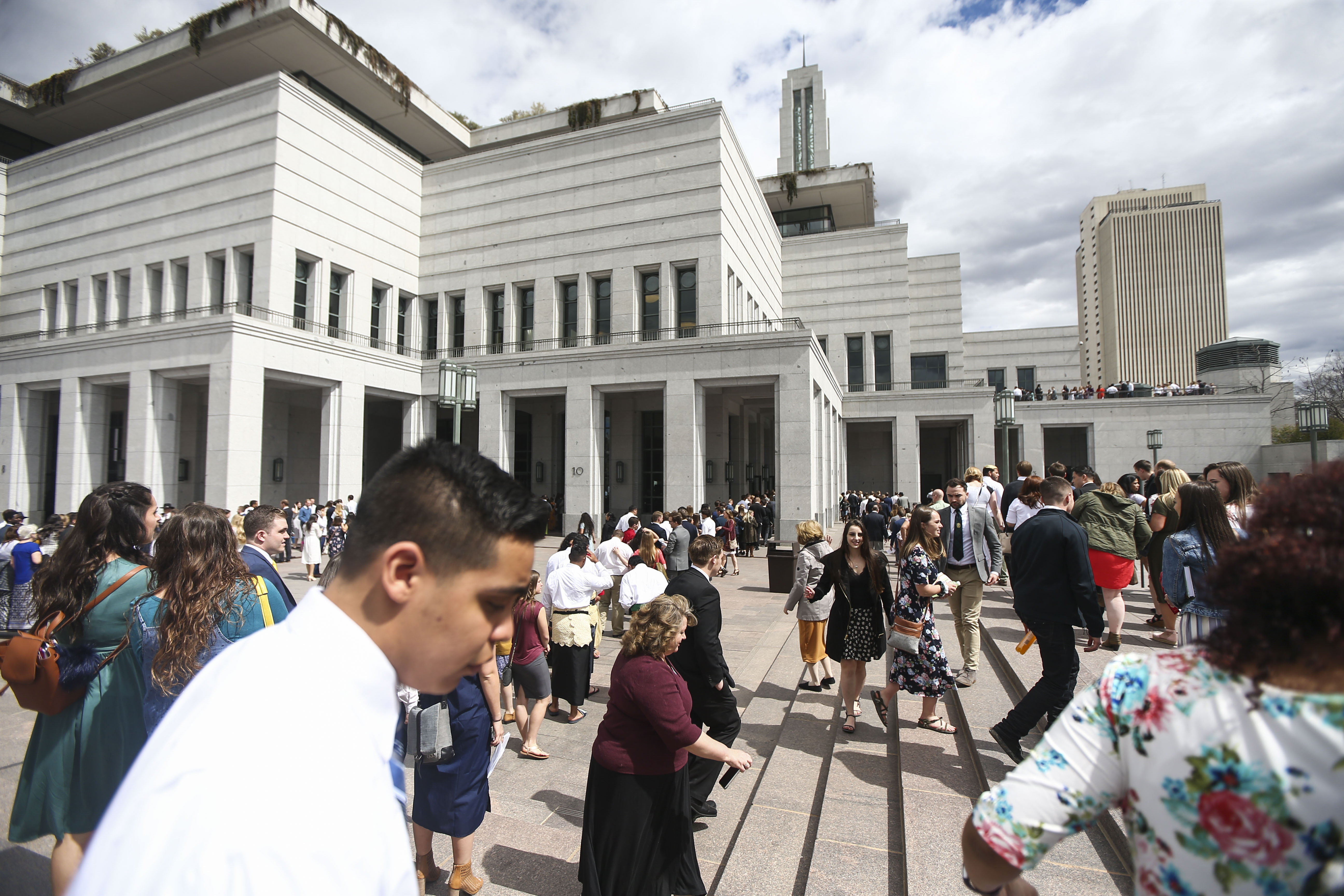 Conferencegoers walk to the Conference Center for the Sunday afternoon session of the 189th Annual General Conference of The Church of Jesus Christ of Latter-day Saints in Salt Lake City on Sunday, April 7, 2019.