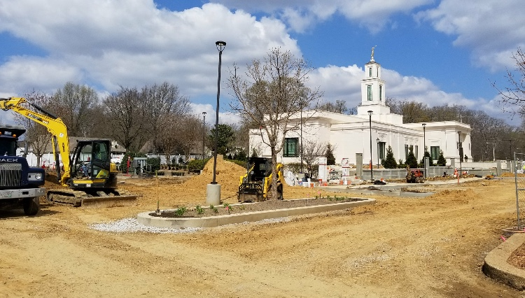 The construction site of the Memphis Tennessee Temple in a still unfinished state during the last weeks of March 2019.