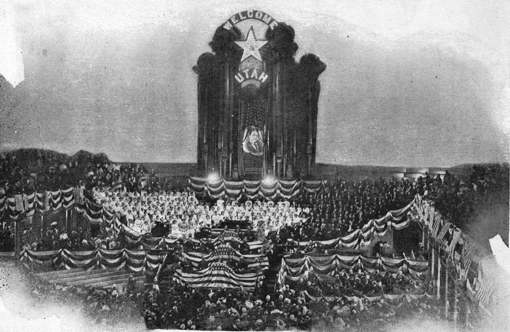 President Taft was welcomed by an overflow crowd of old folks from Utah in the Salt Lake Tabernacle on October 1911.