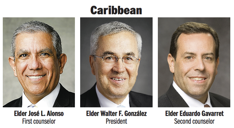 Caribbean Area presidency: Elder Walter F. González, Elder José L. Alonso and Elder Eduardo Gavarret.