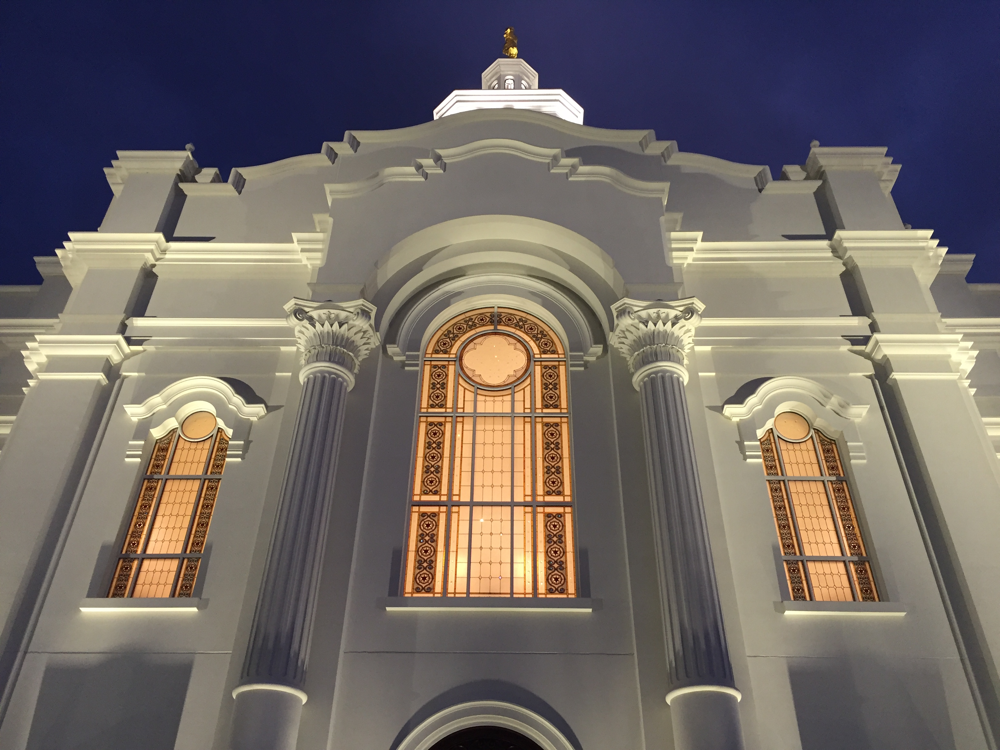 An exterior view of the windows to the celestial room of the Tijuana Mexico Temple.