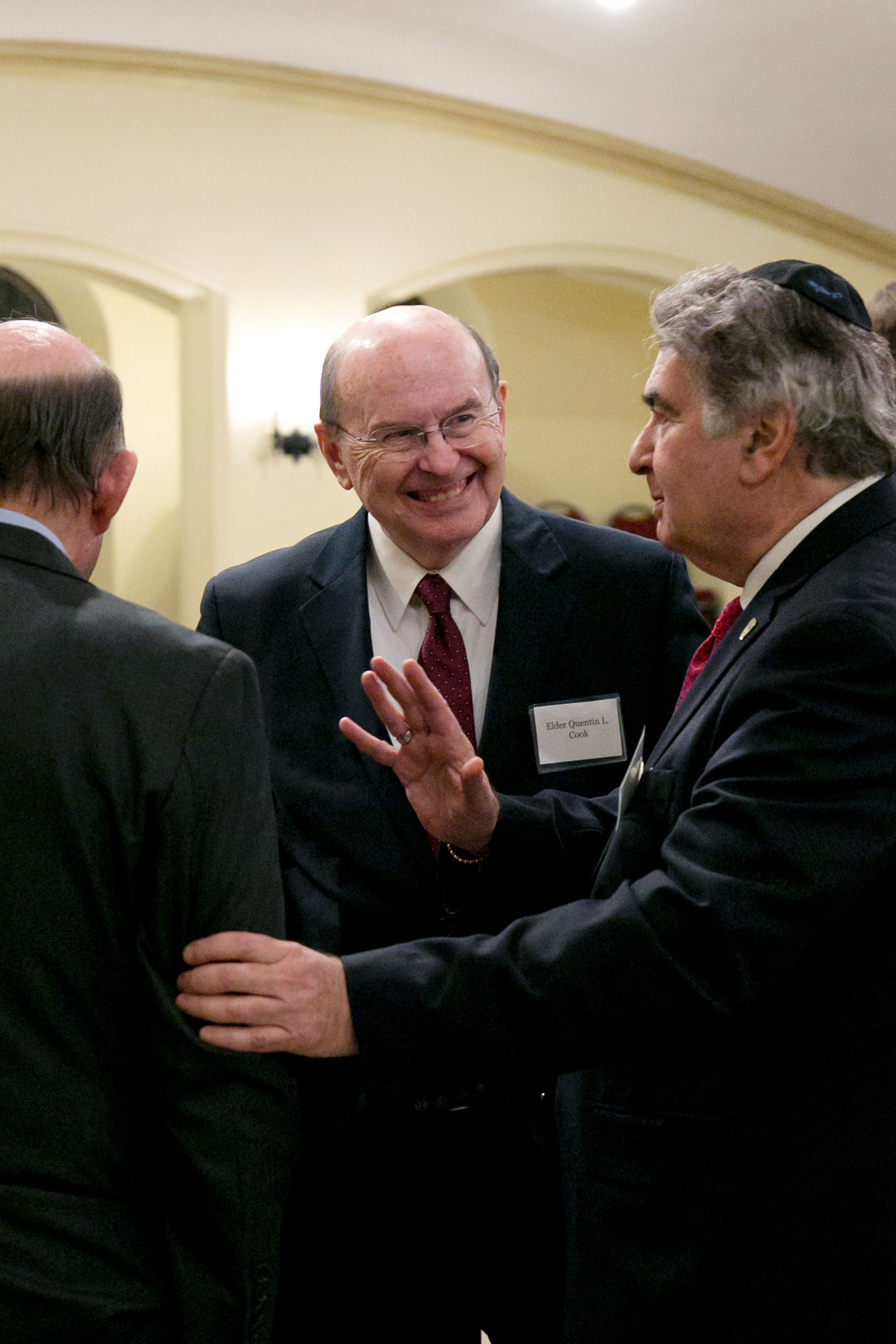 Robert Abrams, the former New York attorney general; Elder Quentin L. Cook of the Quorum of the Twelve Apostles; and Rabbi Joseph Potasnik participate in meeting sponsored by the New York Latter-day Saint Professional Association on Dec. 18.