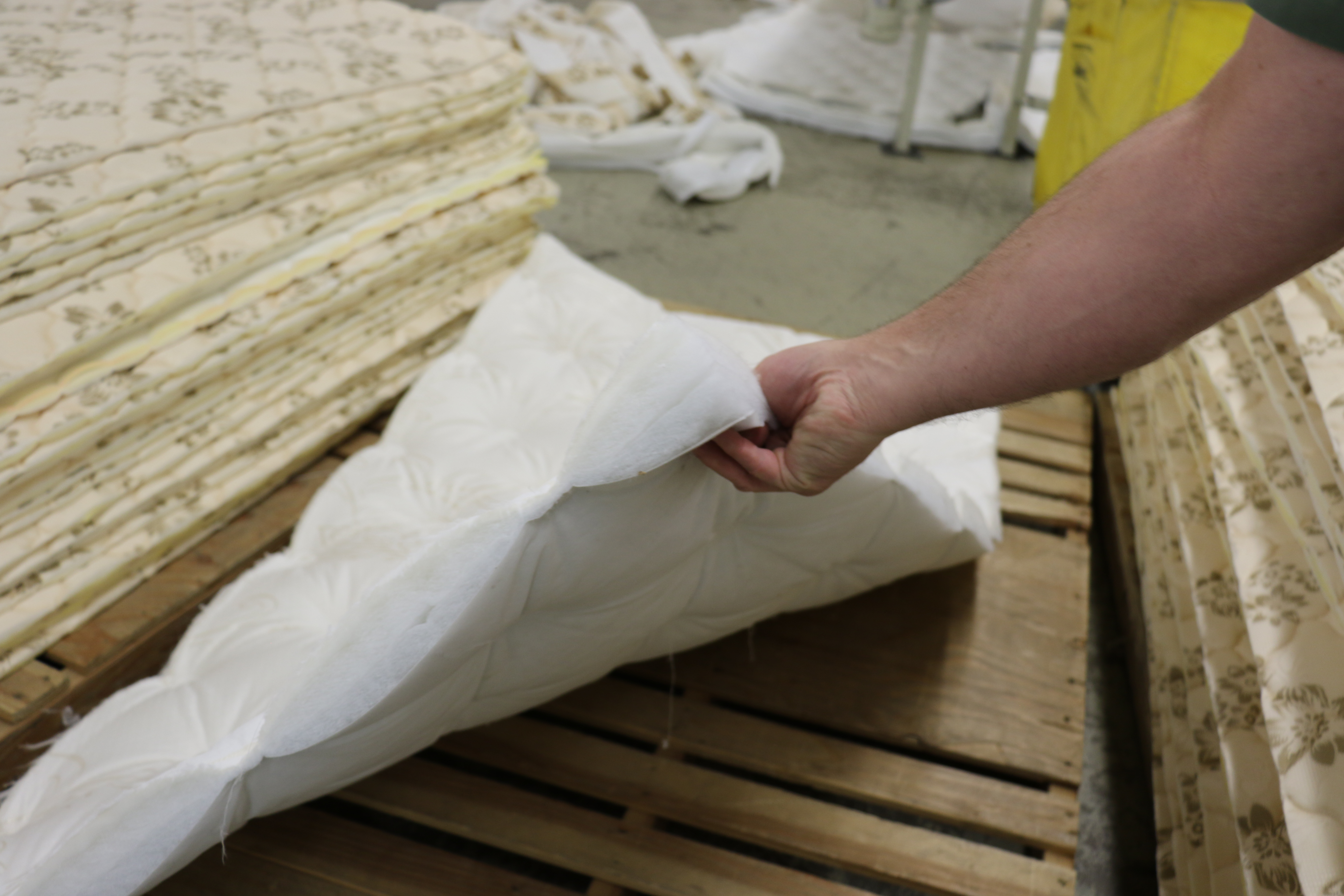 Quilting from a mattresses made in the Deseret Manufacturing facility.