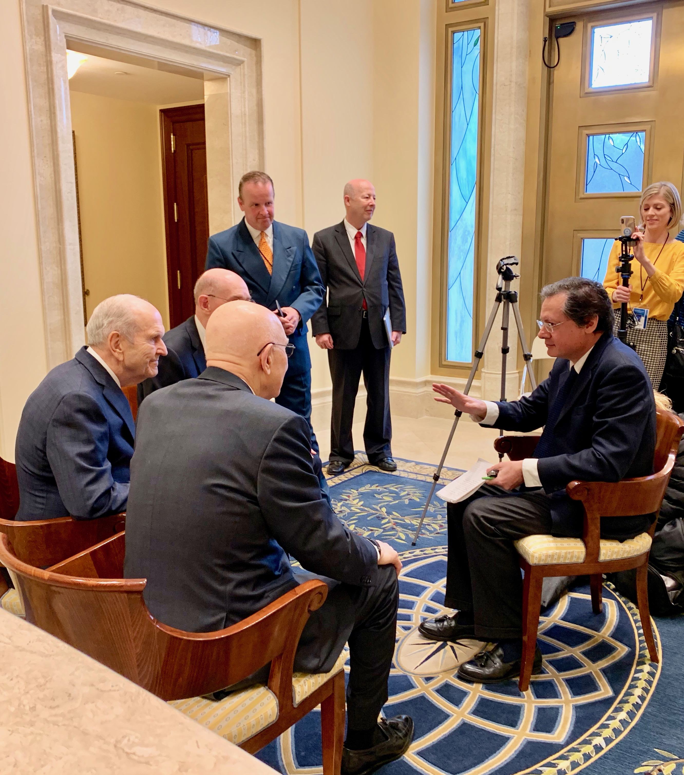 La Stampa correspondent Paolo Mastrolilli gestures as he interviews President Russell M. Nelson, far left, and his counselors in the First Presidency of The Church of Jesus Christ of Latter-day Saints in the Rome Italy Temple on Monday, March 11, 2019.