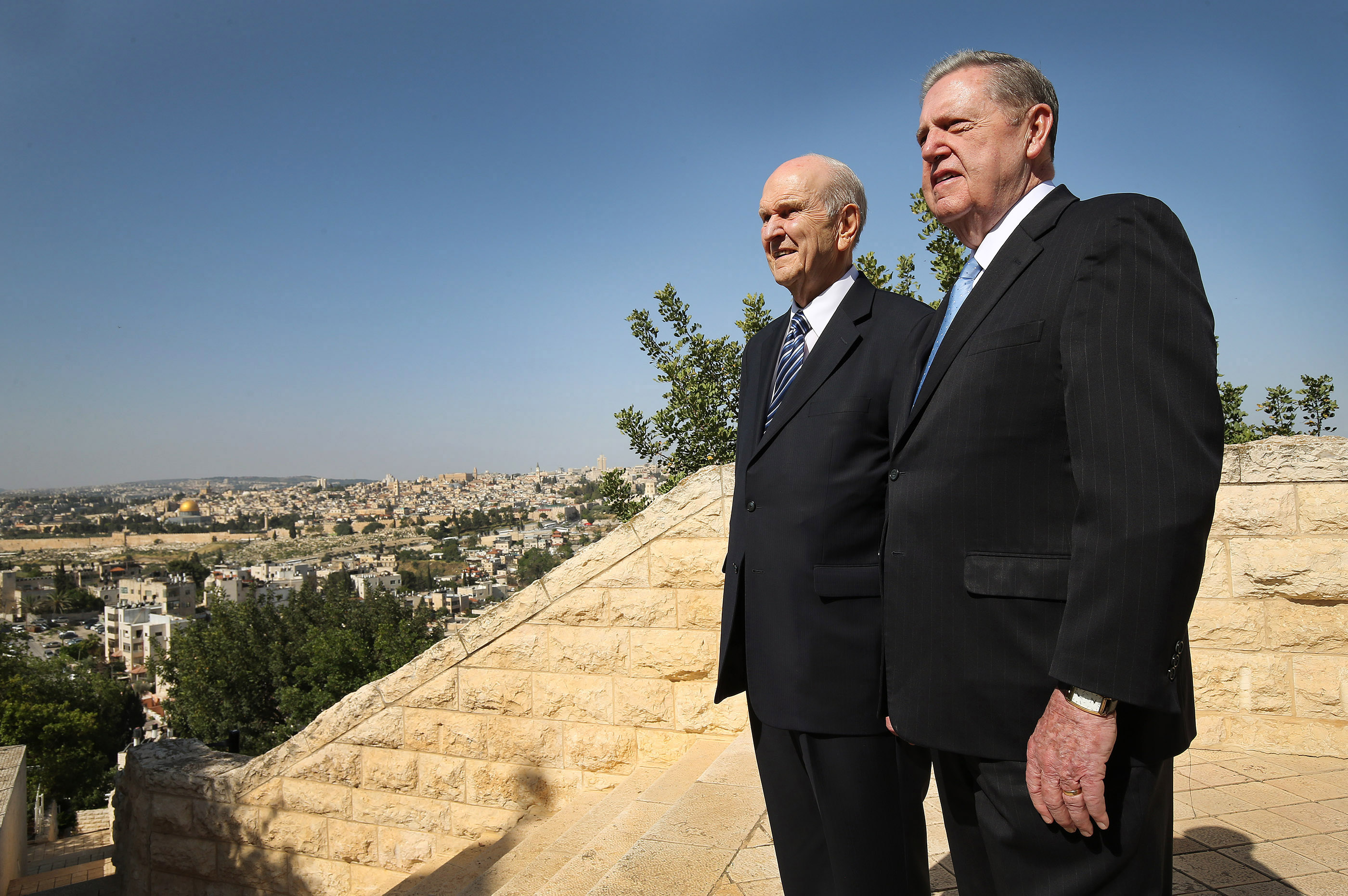 President Russell M. Nelson, president of The Church of Jesus Christ of Latter-day Saints, left, and Elder Jeffrey R. Holland, of the Quorum of the Twelve Apostles, look over the view at the BYU Jerusalem Center in Jerusalem on Saturday, April 14, 2018. The two are on a global tour of eight countries.