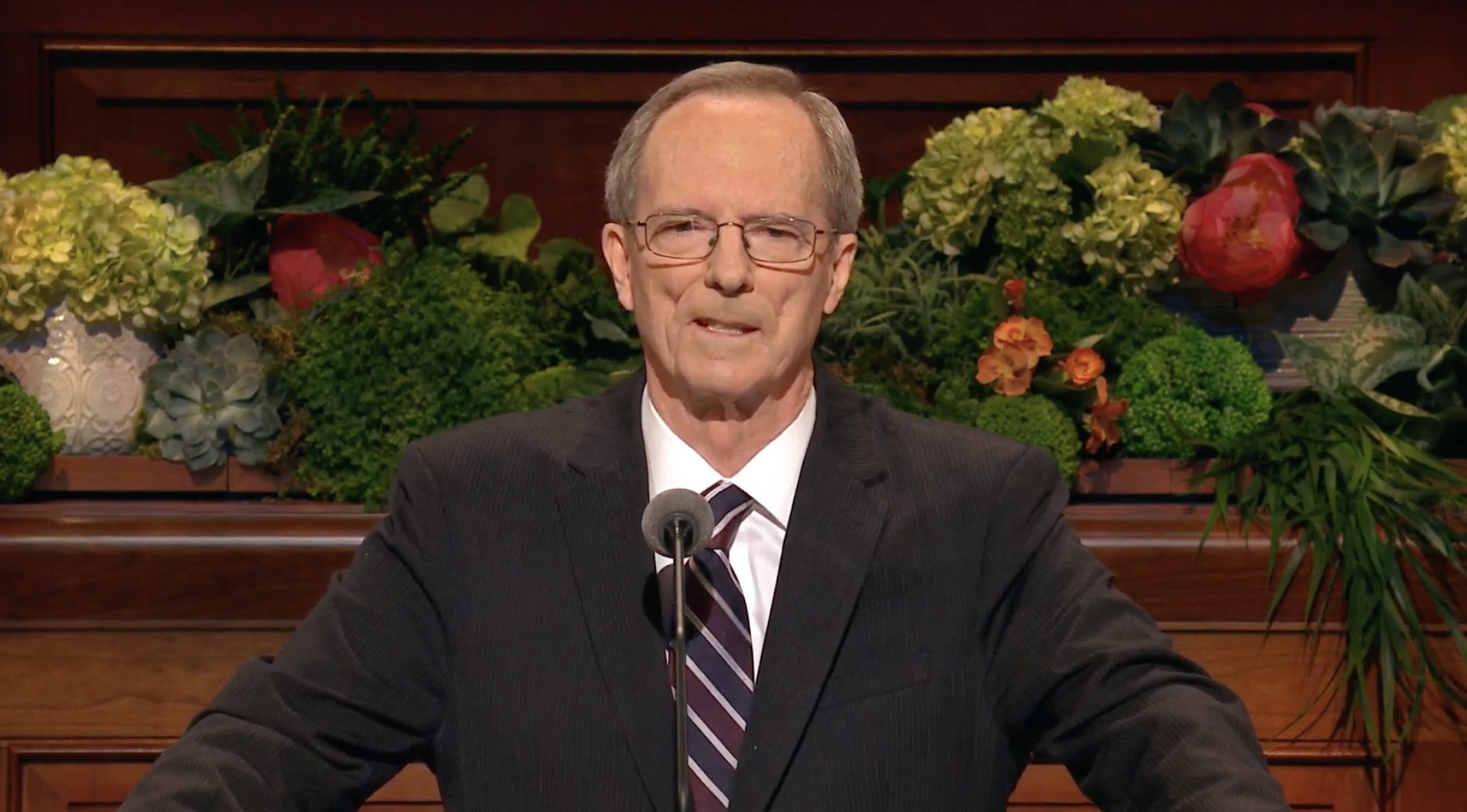 Brother Tad R. Callister gives his address during the Sunday morning session of the 189th Annual General Conference on April 7, 2019. Brother Callister was released from the Sunday School general presidency on April 6.