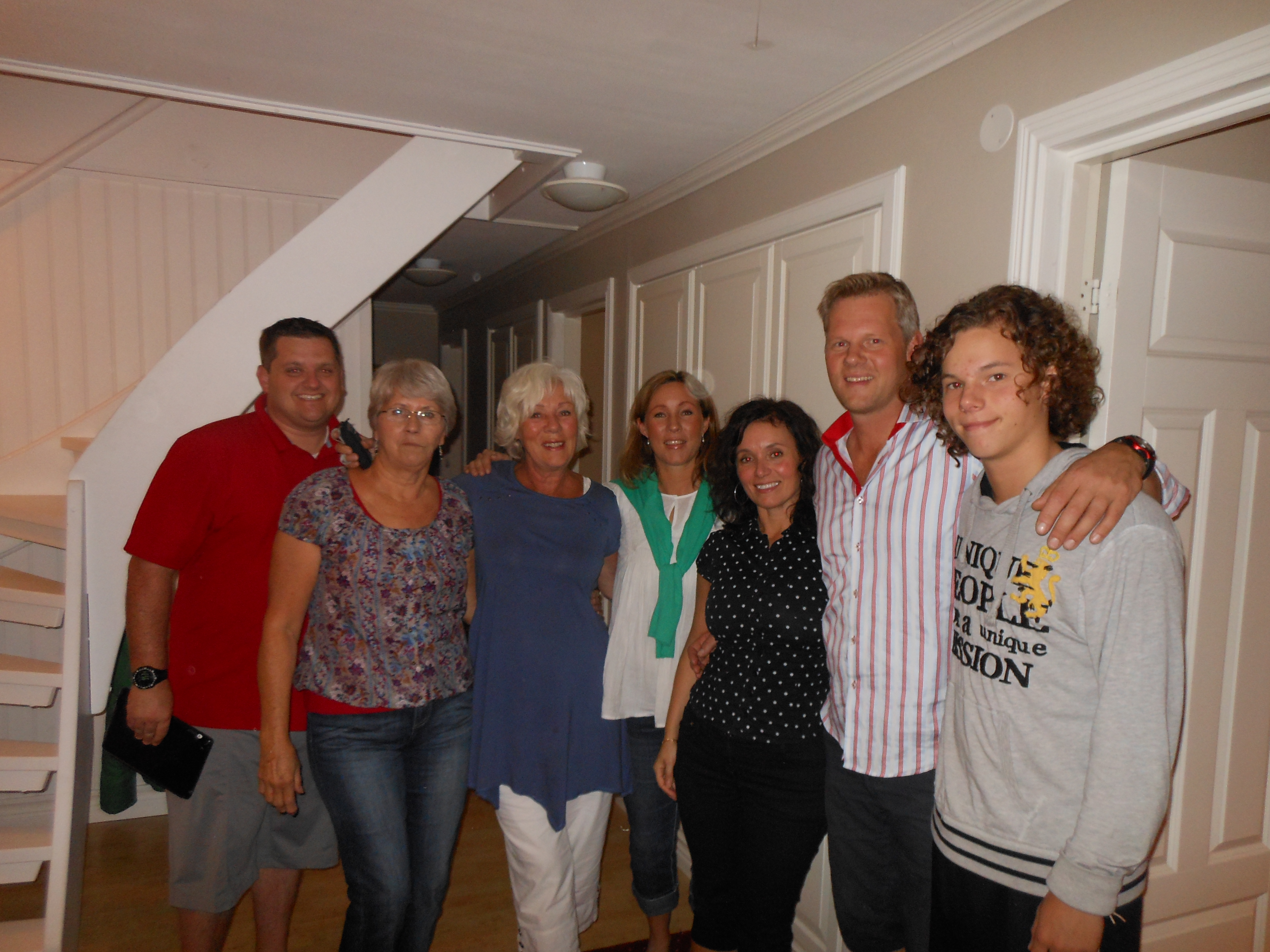 From left: James Farwell, Listbeth Pettersson Slater, Margareta Johansson Mattsson, Helen Mattsson, Cindia and Andreas Mattsson and their son. In 2013, the Slater family went to Sweden to visit the Mattsson family.