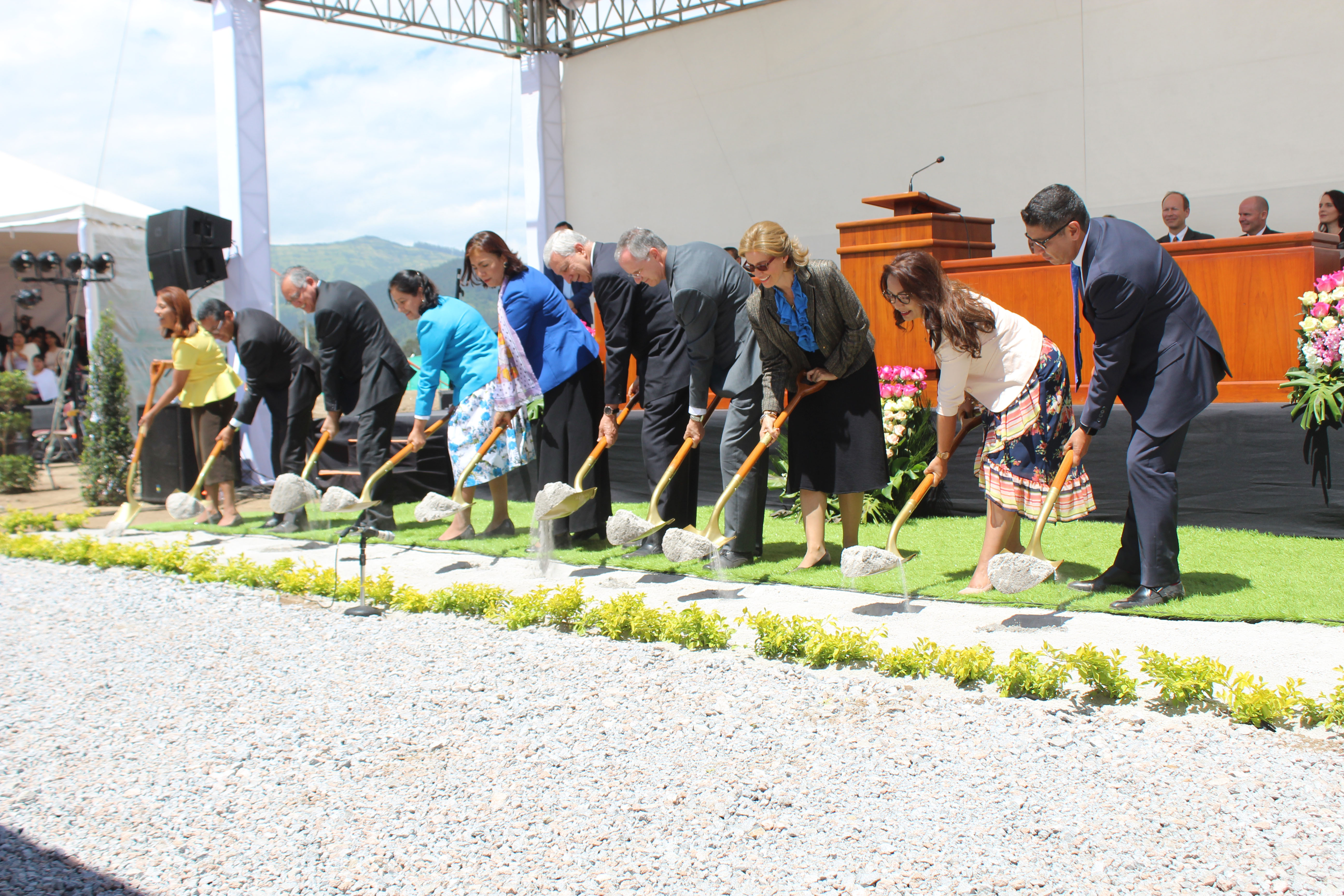Church and community leaders turn the earth during the Quito Ecuador Temple groundbreaking on Saturday, May 11, 2019.