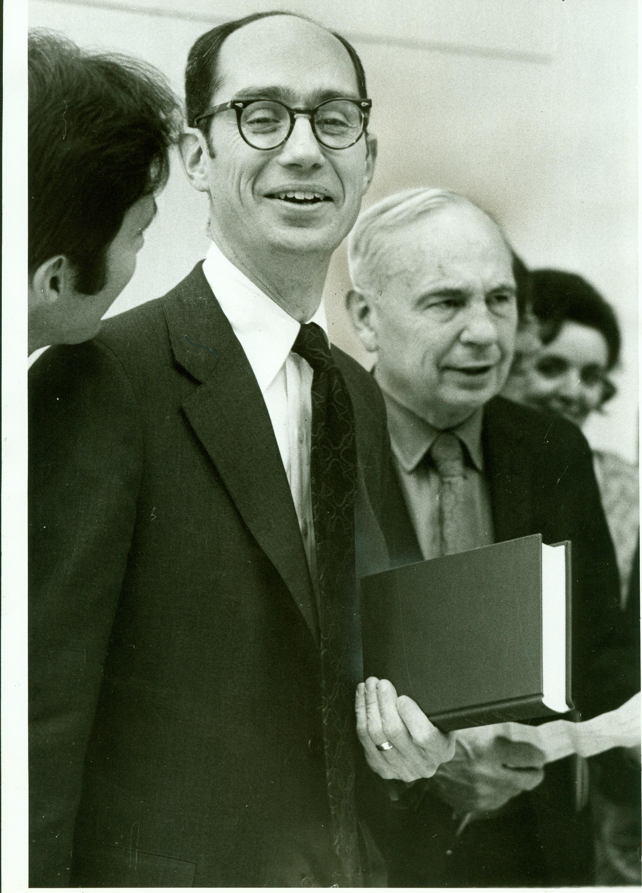 Henry B. Eyring, president of Ricks College, with his father, Dr. Henry Eyring.