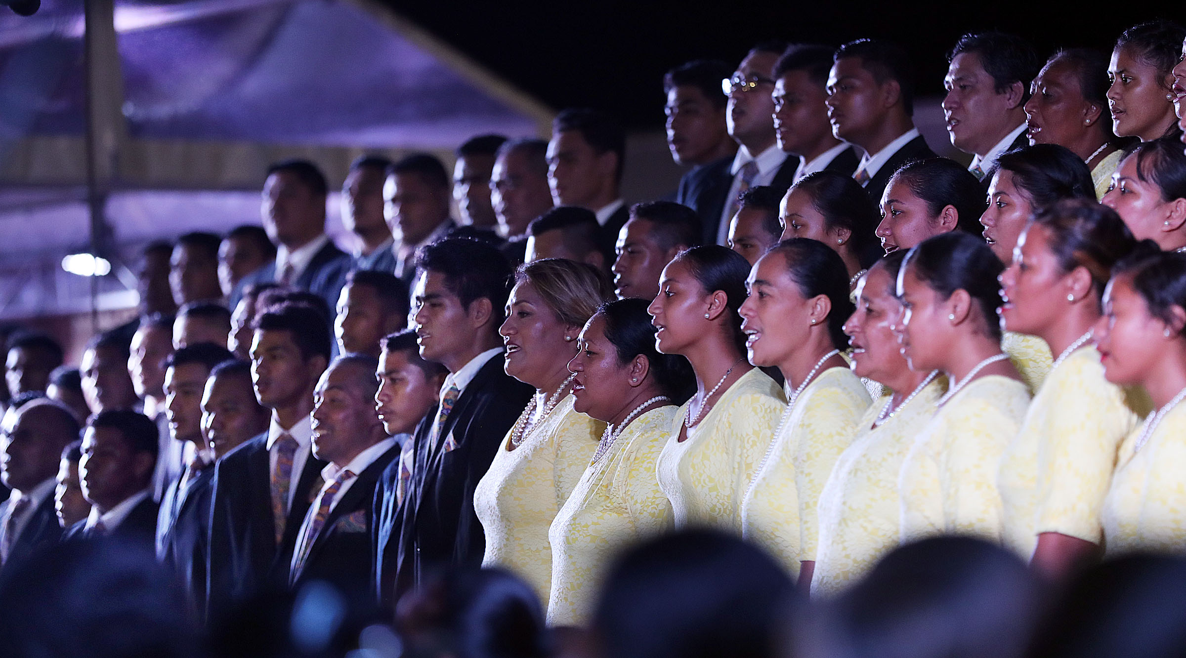 Members of the Apia Samoa Central Stake Choir sing during a devotional with President Russell M. Nelson of The Church of Jesus Christ of Latter-day Saints in Apia, Samoa, on Saturday, May 18, 2019.