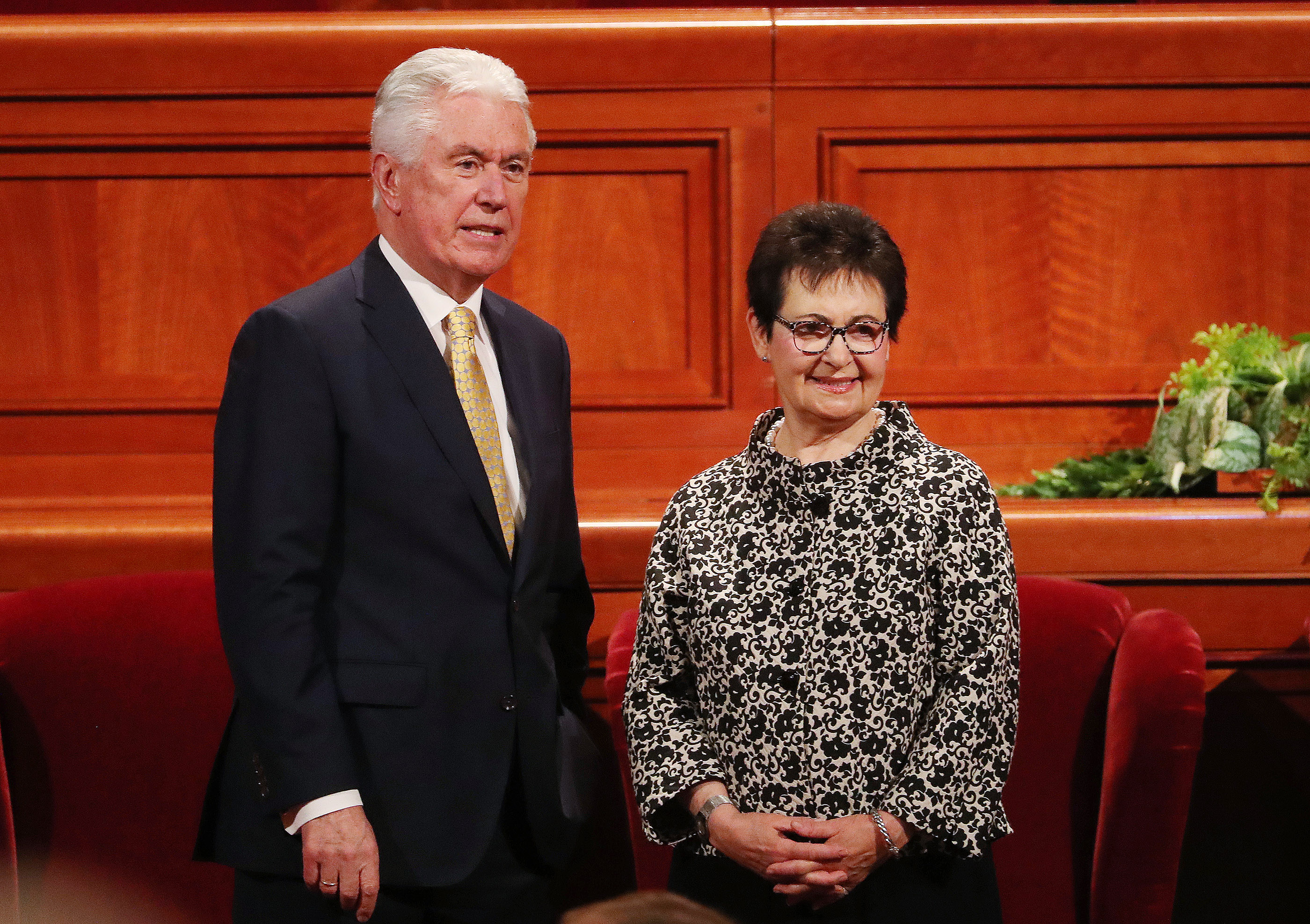 Elder Dieter F. Uchtdorf and his wife Harriet look over the attendees prior to the 189th Annual General Conference of The Church of Jesus Christ of Latter-day Saints in Salt Lake City on Saturday, April 6, 2019.