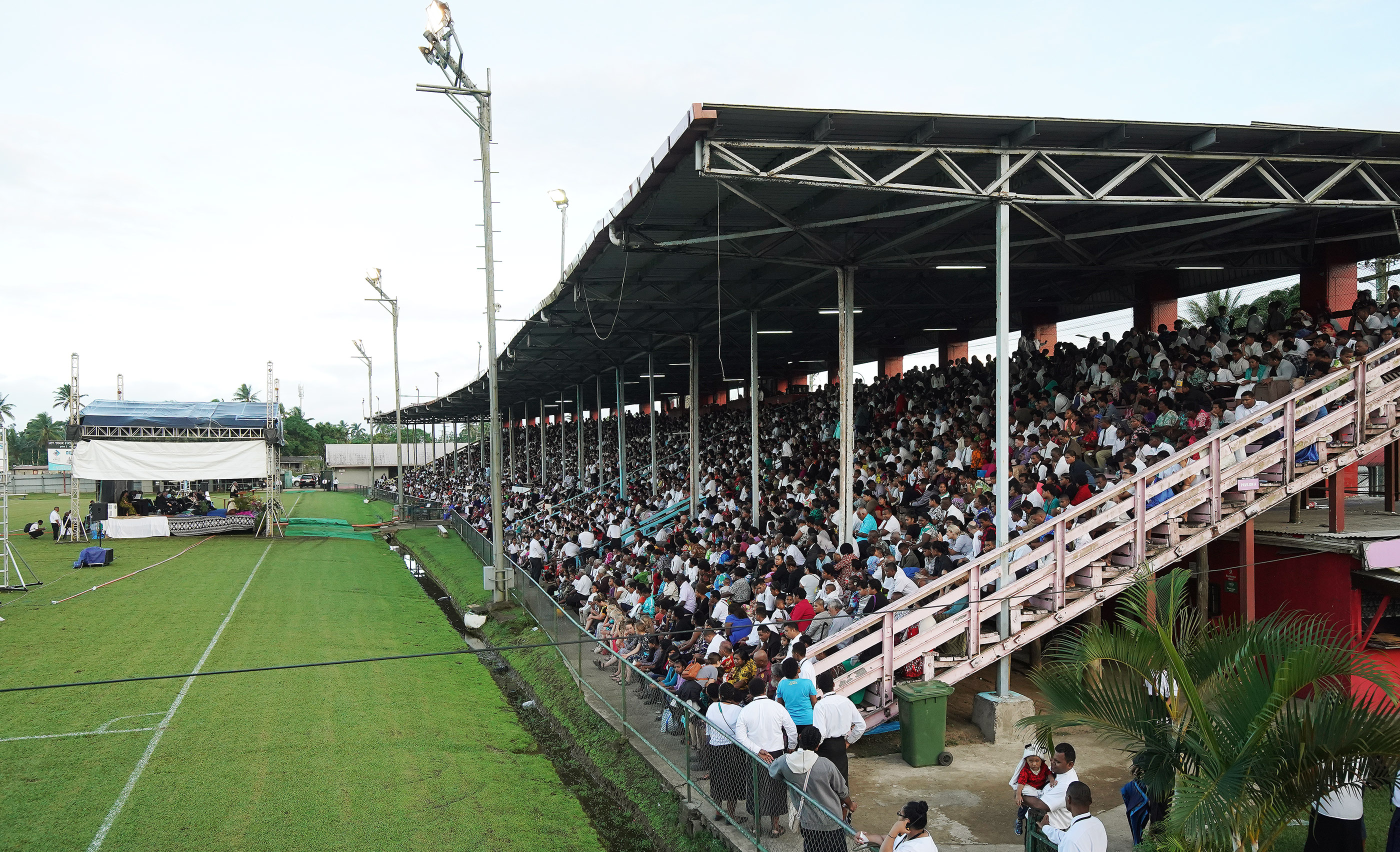 Attendees listen during a devotional at Ratu Cakobau stadium in Nausori, Fiji on May 22, 2019.