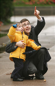 Jarrett (R) And his son Kenneth Petersen look at the SL Temple during LDS General Conference Oct 6, 2007 in Salt Lake City. Jeffrey D. Allred/photo