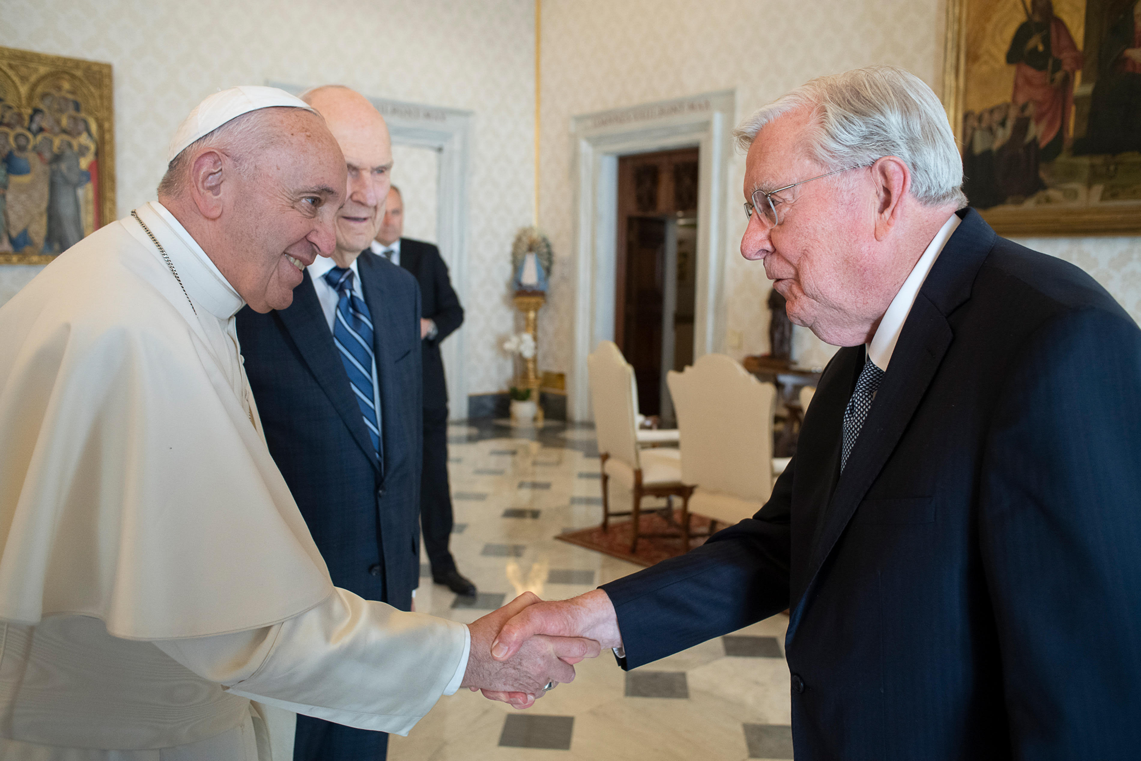 President Russell M. Nelson of The Church of Jesus Christ of Latter-day Saints and President M. Russell Ballard, acting president of the Quorum of the Twelve Apostles, meet with Pope Francis at the Vatican in Rome, Italy, on Saturday, March 9, 2019.