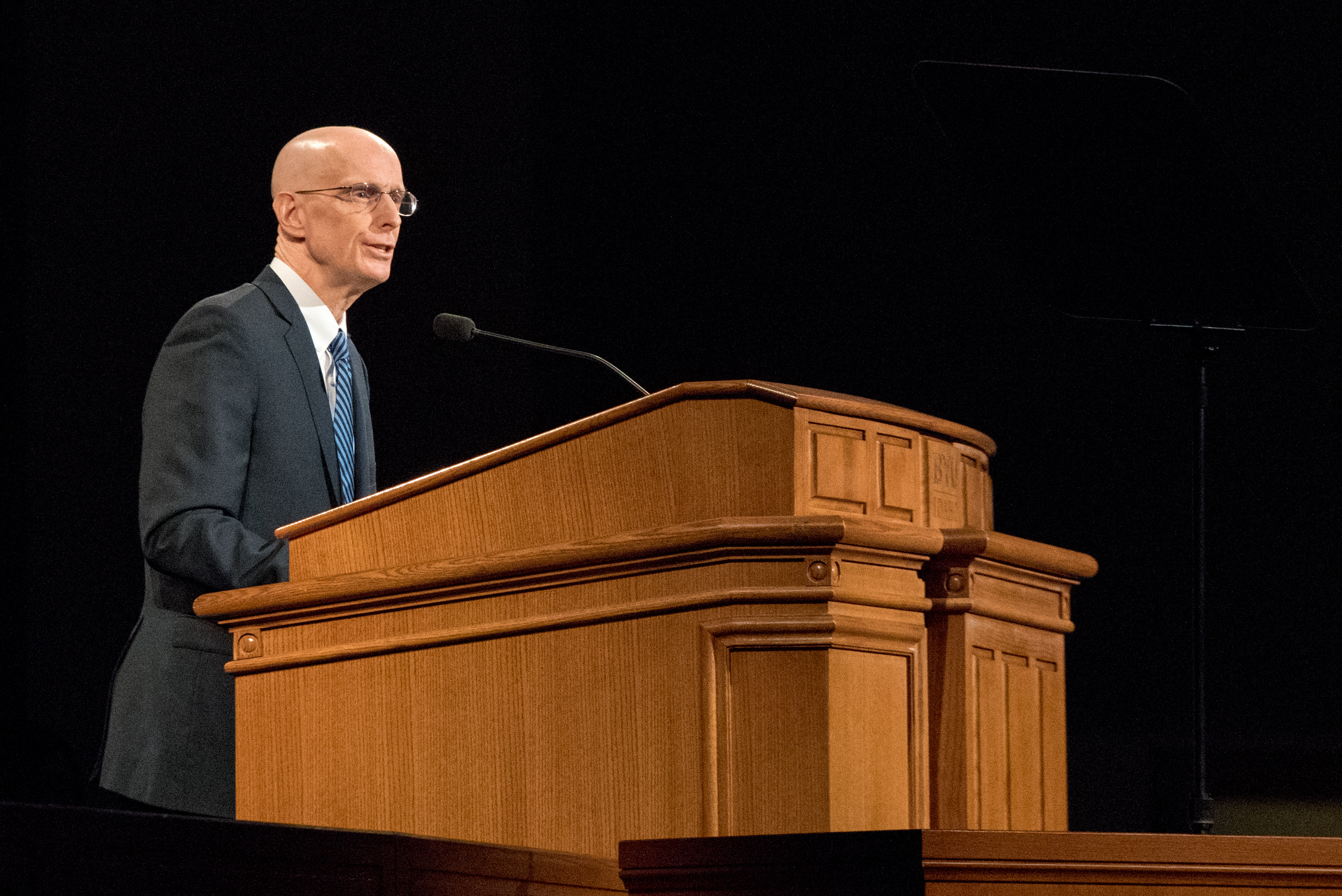 BYU-Idaho President Henry J. Eyring speaks in the BYU-Idaho Center during the first devotional of Fall semester on Sept. 18, 2018.