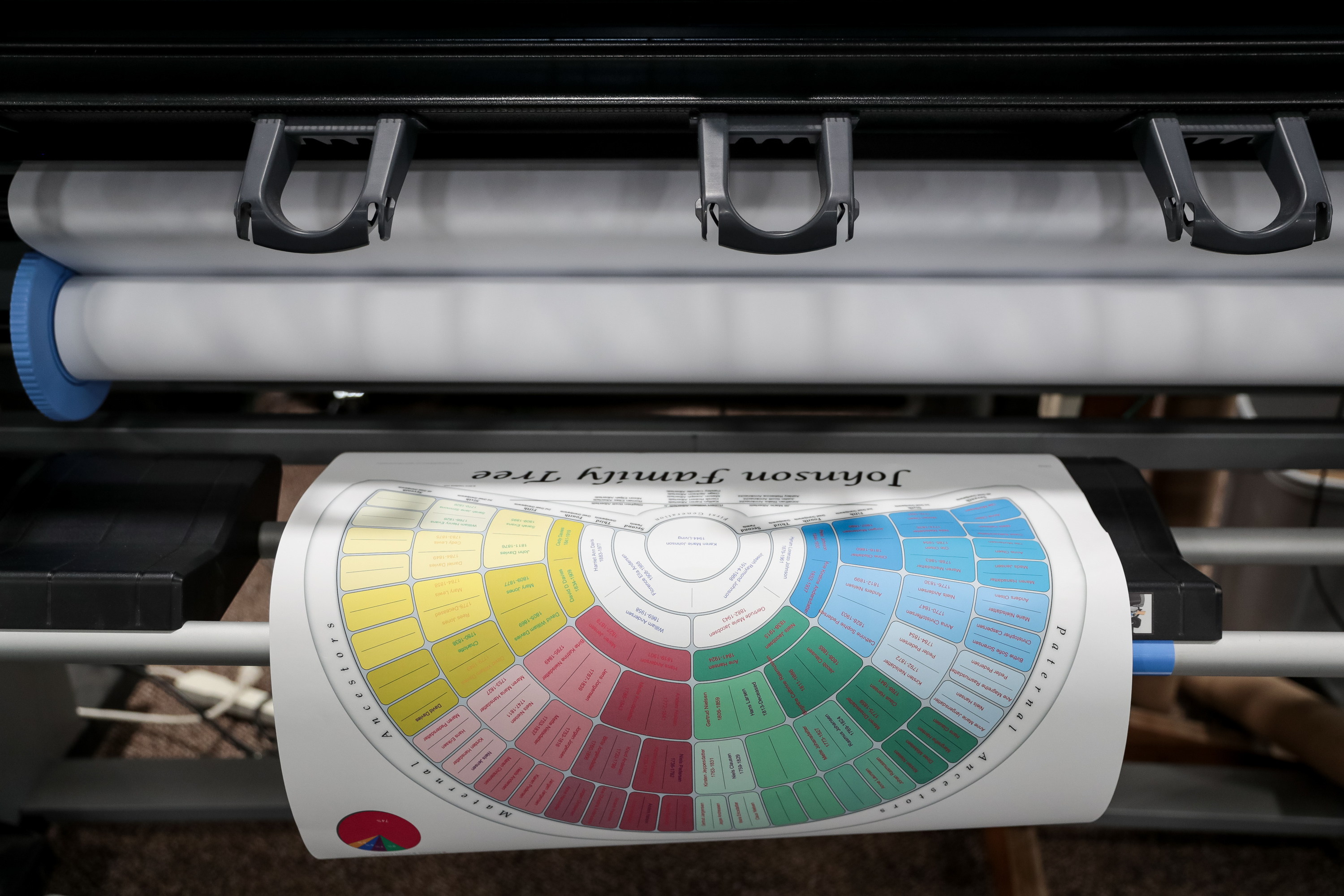 A printer spits out genealogy charts at the RootsTech conference at the Salt Palace in Salt Lake City on Friday, March 1, 2019.
