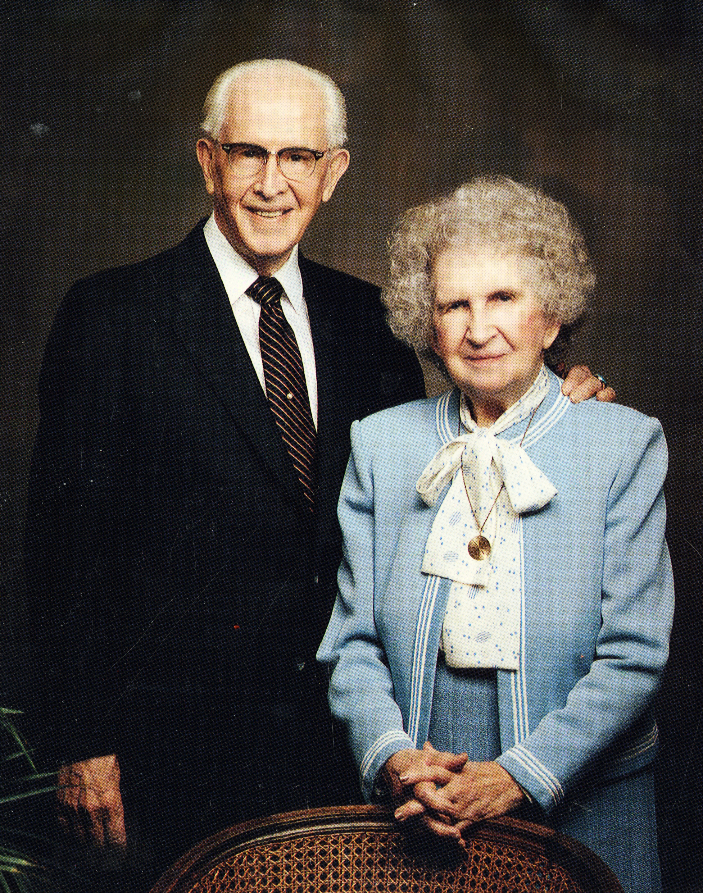 President Ezra Taft Benson and his wife, Sister Flora Smith Amussen Benson, posed for a photo on the 60th anniversary of their wedding. They were married on Sept. 10, 1926, in the Salt Lake Temple. She died Aug. 14, 1992; he died May 30, 1994.
