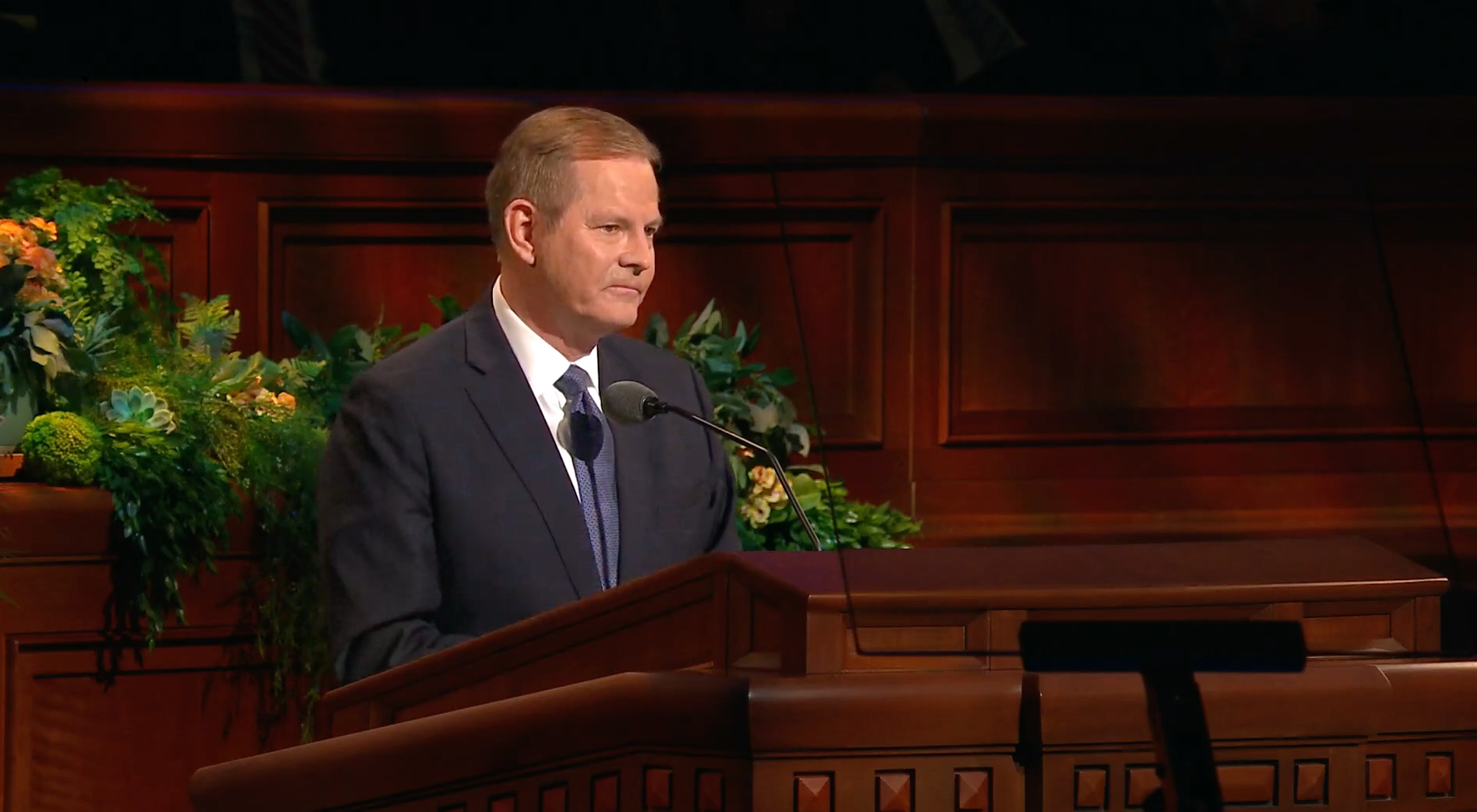 Elder Gary E. Stevenson of the Quorum of the Twelve Apostles gives his address during the priesthood session of the 189th Annual General Conference on April 6, 2019.