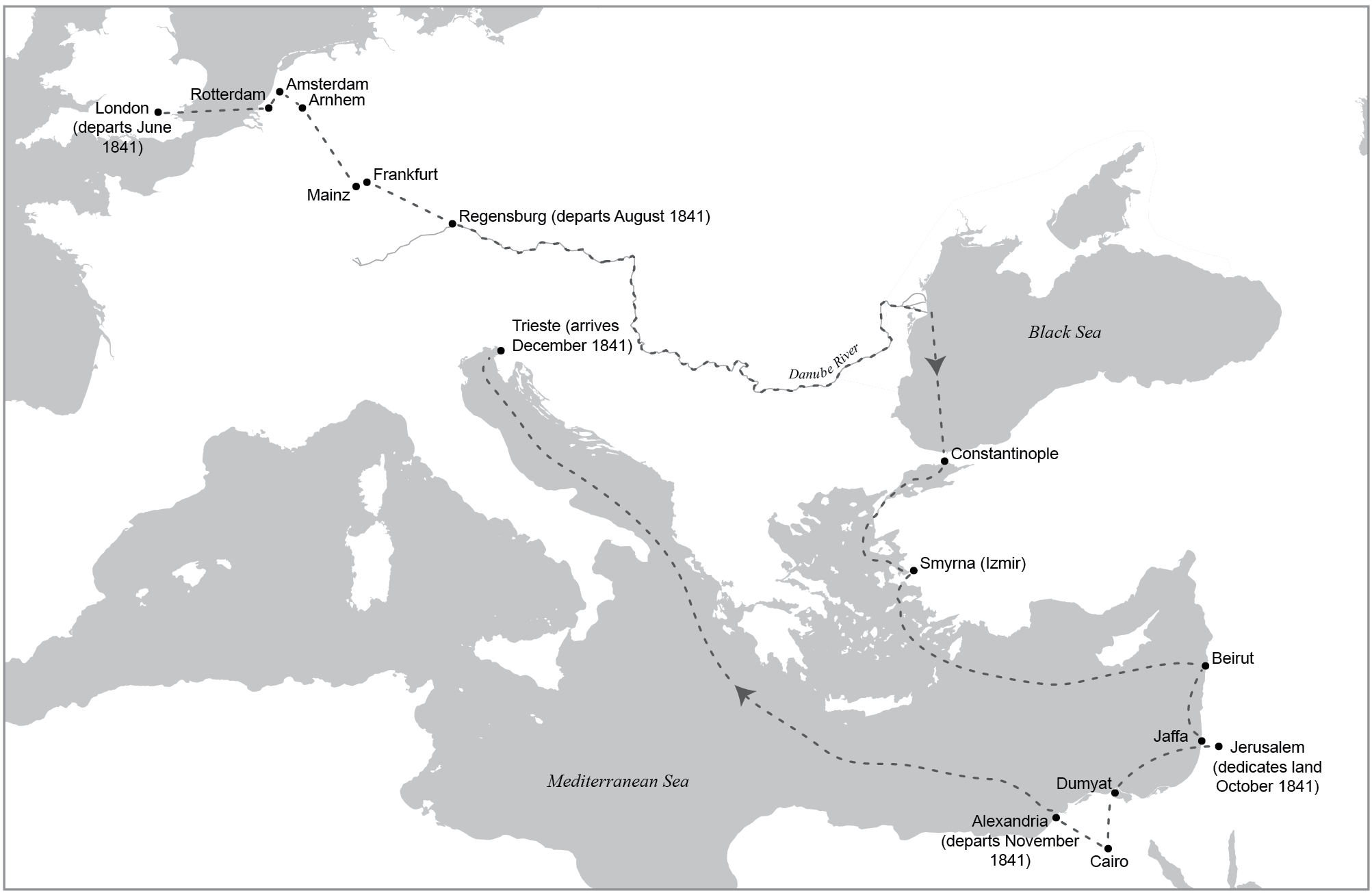 A map showing the missionary travels of apostle Orson Hyde during the early 1840s.