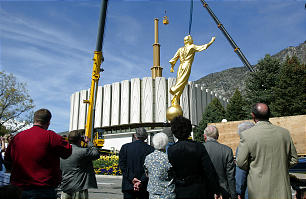 A statue of Angel Moroni is added to the Provo Utah Temple on May 12, 2003, 31 years after it was dedicated on Feb. 9, 1972.A statue of Angel Moroni is added to the Provo Utah Temple on May 12, 2003, 31 years after it was dedicated on Feb. 9, 1972.
