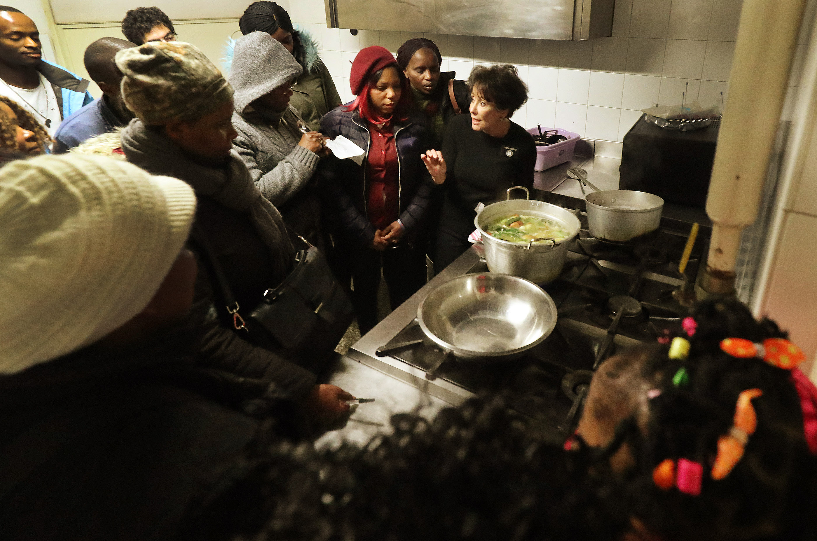 Latter-day Saint Charities missionary Anita Canfield, right, teaches refugees during cooking class at St. Paul's Within the Walls Episcopal Church in Rome, Italy on Thursday, March 7, 2019. The Church of Jesus Christ of Latter-day Saints partners with the Catholic church to help refugees.