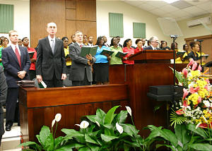 President Henry B. Eyring, second from the left, presides at the Jan. 25 conference session broadcast from Jamaica.