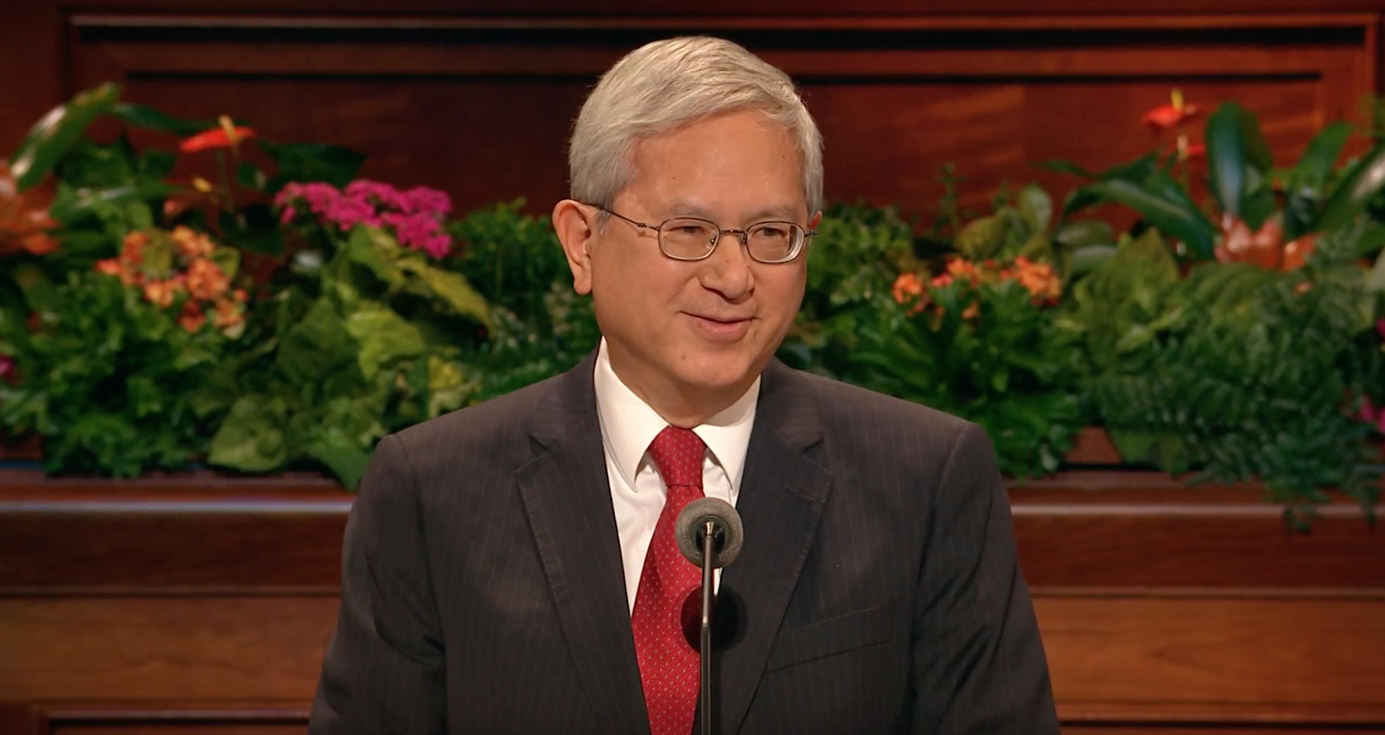 Elder Gerrit W. Gong speaks during October 2018 general conference.