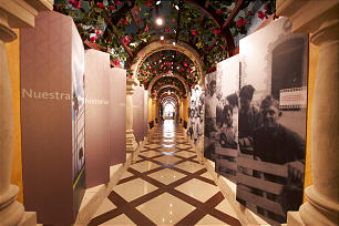 Hallway in the recently reopened Mexico City Temple Visitors Center is used to share the family-themed message of the gospel.