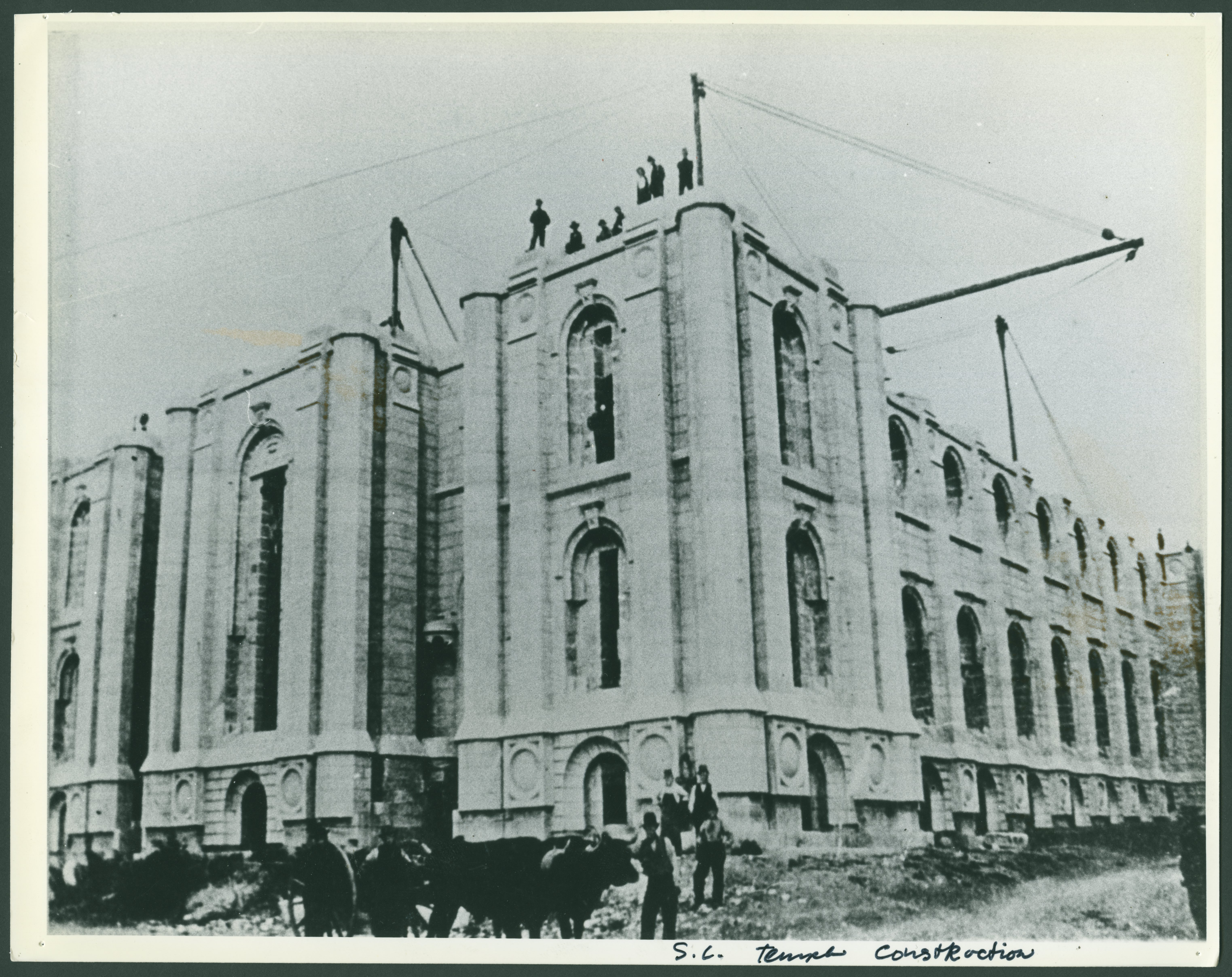 The uncompleted walls of the Salt Lake Temple, taken about 1885.