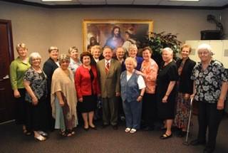 Virginia State Senator Charles Colgan with fourteen sisters of the St. Benedict Monastery in Bristow, Virginia.